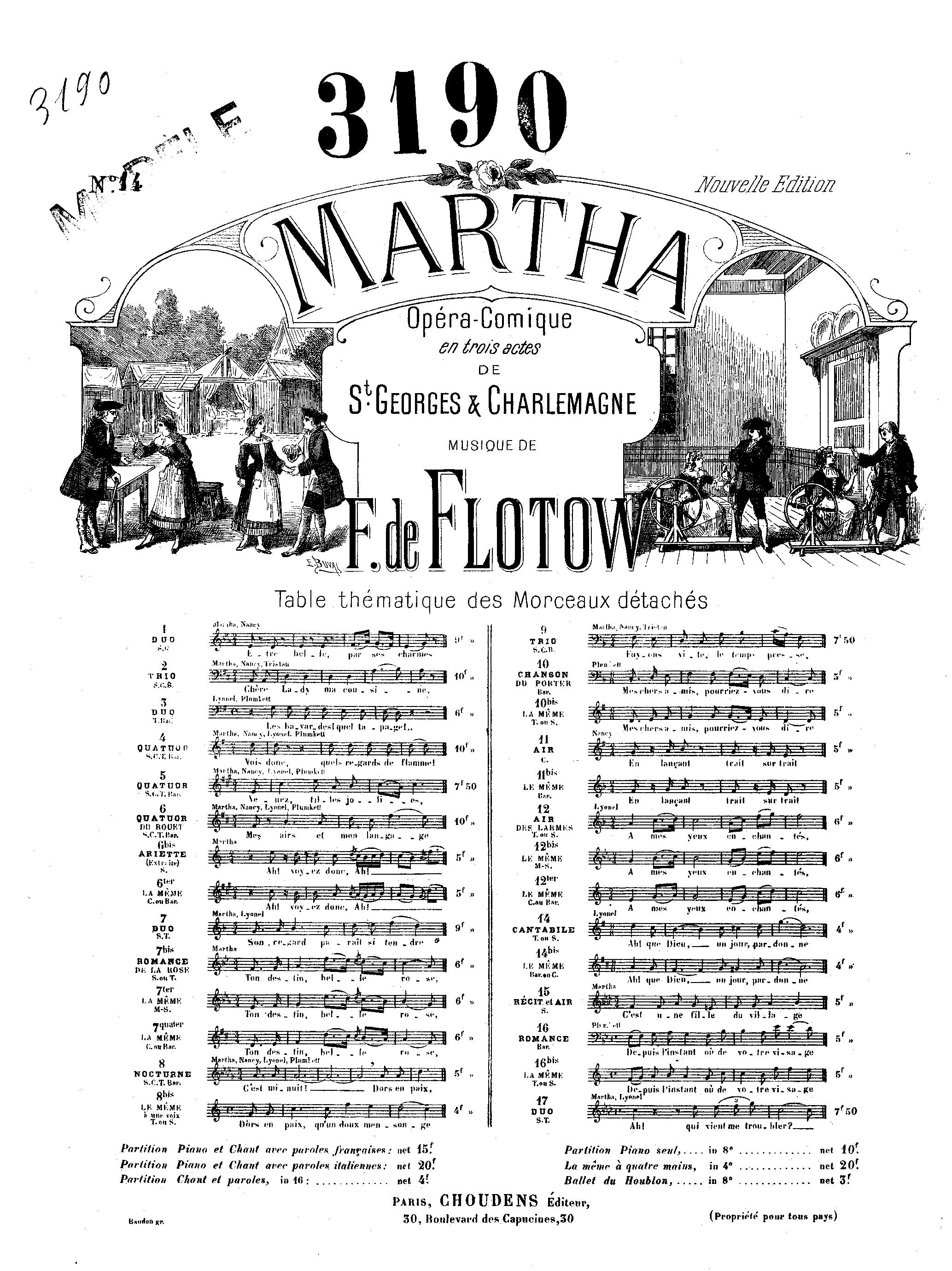 Friedrich von Flotow: Air No.14 Martha: Voice: Vocal Work