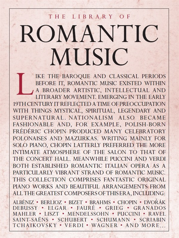The Library Of Romantic Music: Piano: Mixed Songbook