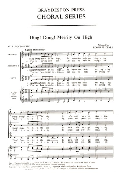 Ding Dong! Merrily On High: SSA: Vocal Score