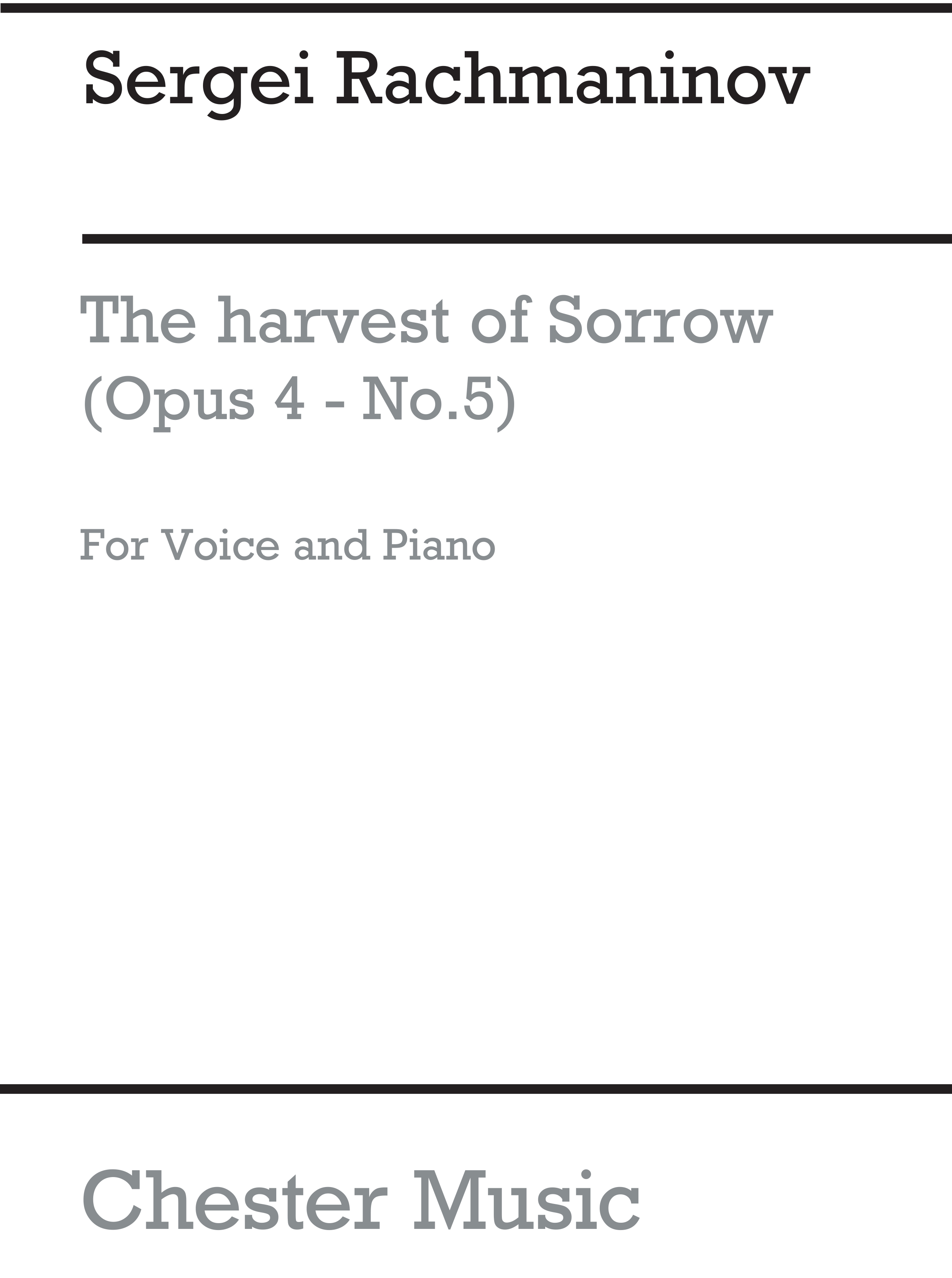 Sergei Rachmaninov: The Harvest Of Sorrow Op.4/5: Voice: Vocal Work