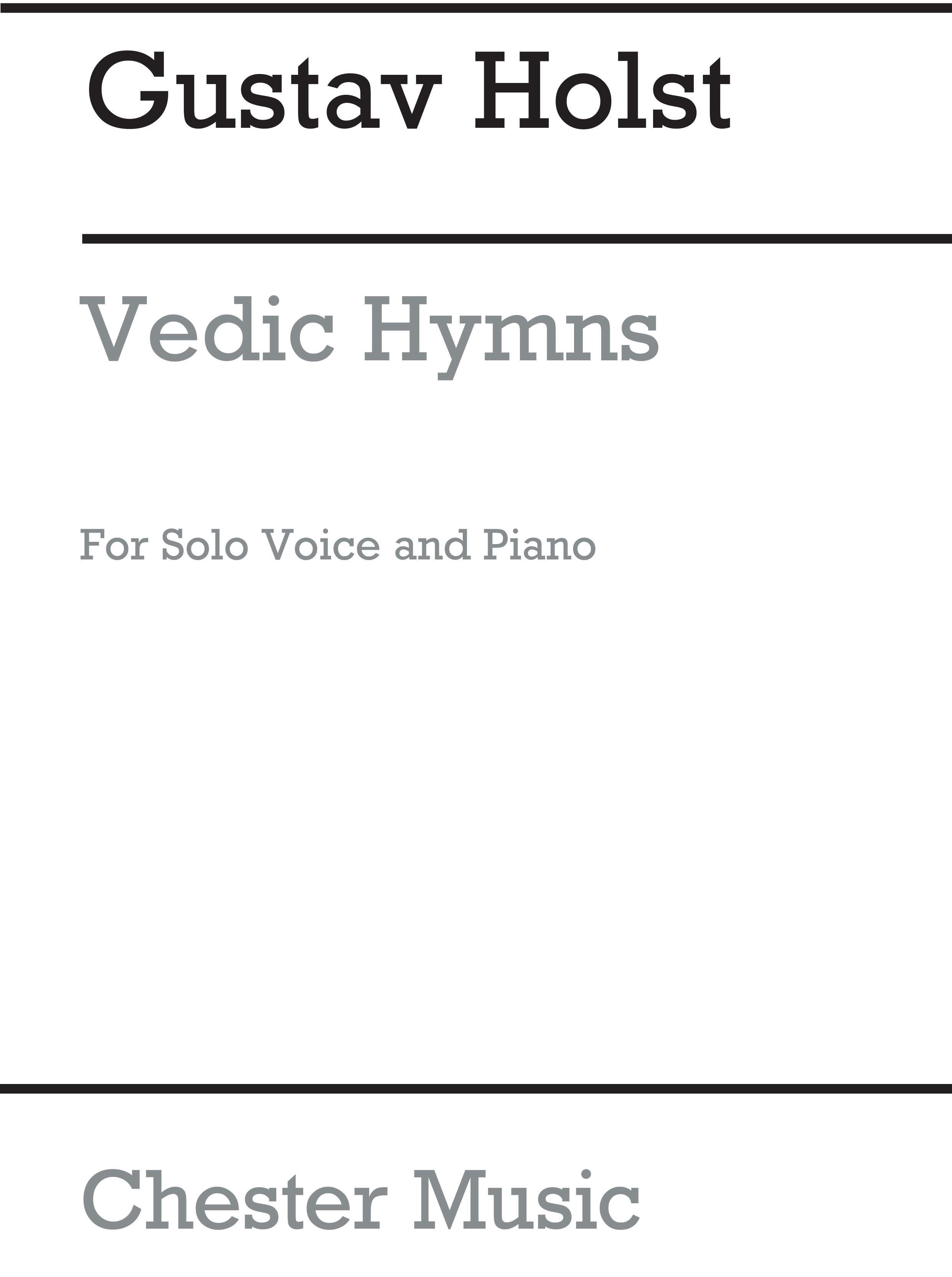 Gustav Holst: Vedic Hymns Op24 for Voice And Piano: Voice: Vocal Album