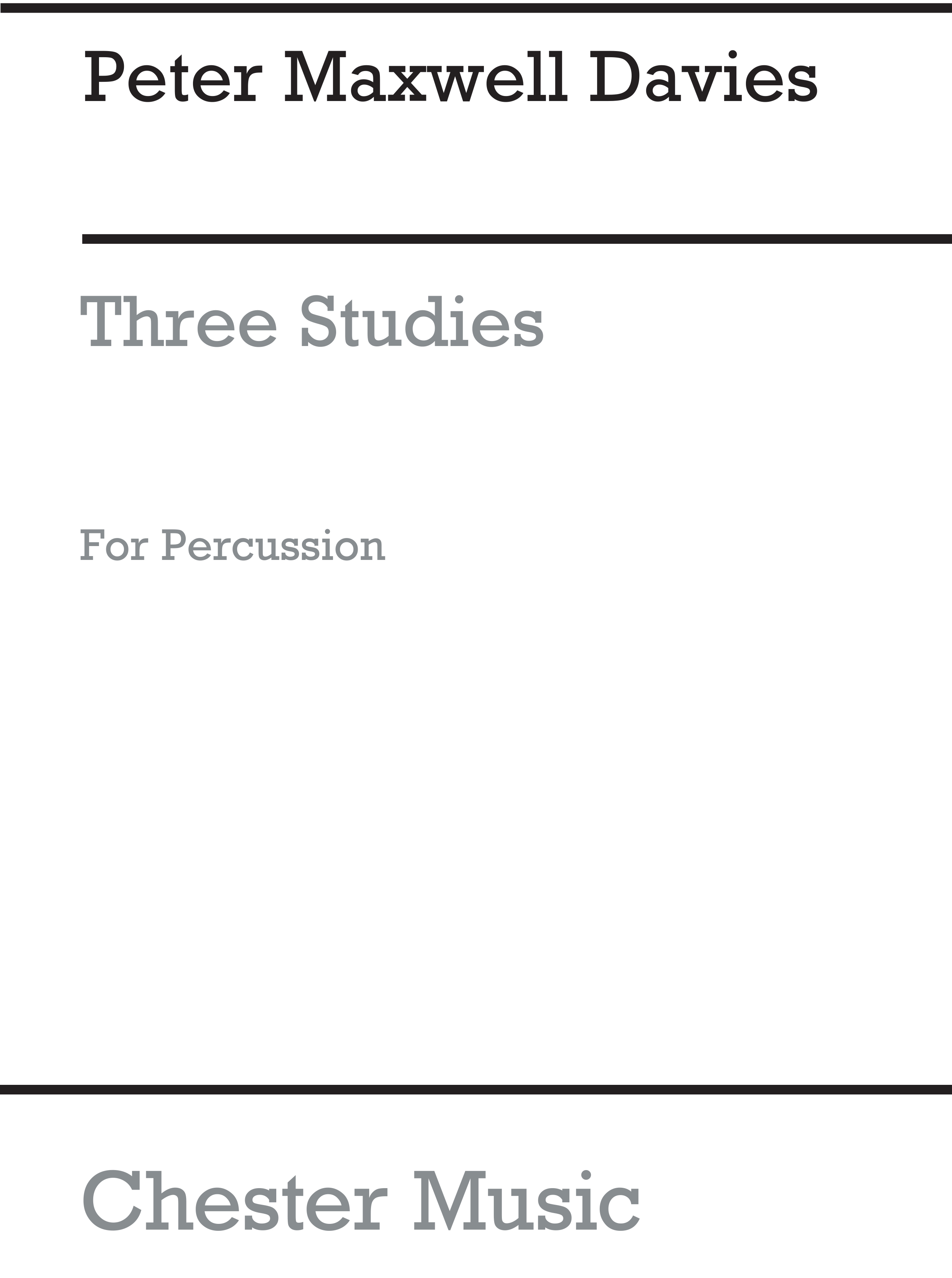 Peter Maxwell Davies: Three Studies For Percussion: Tuned Percussion: Study