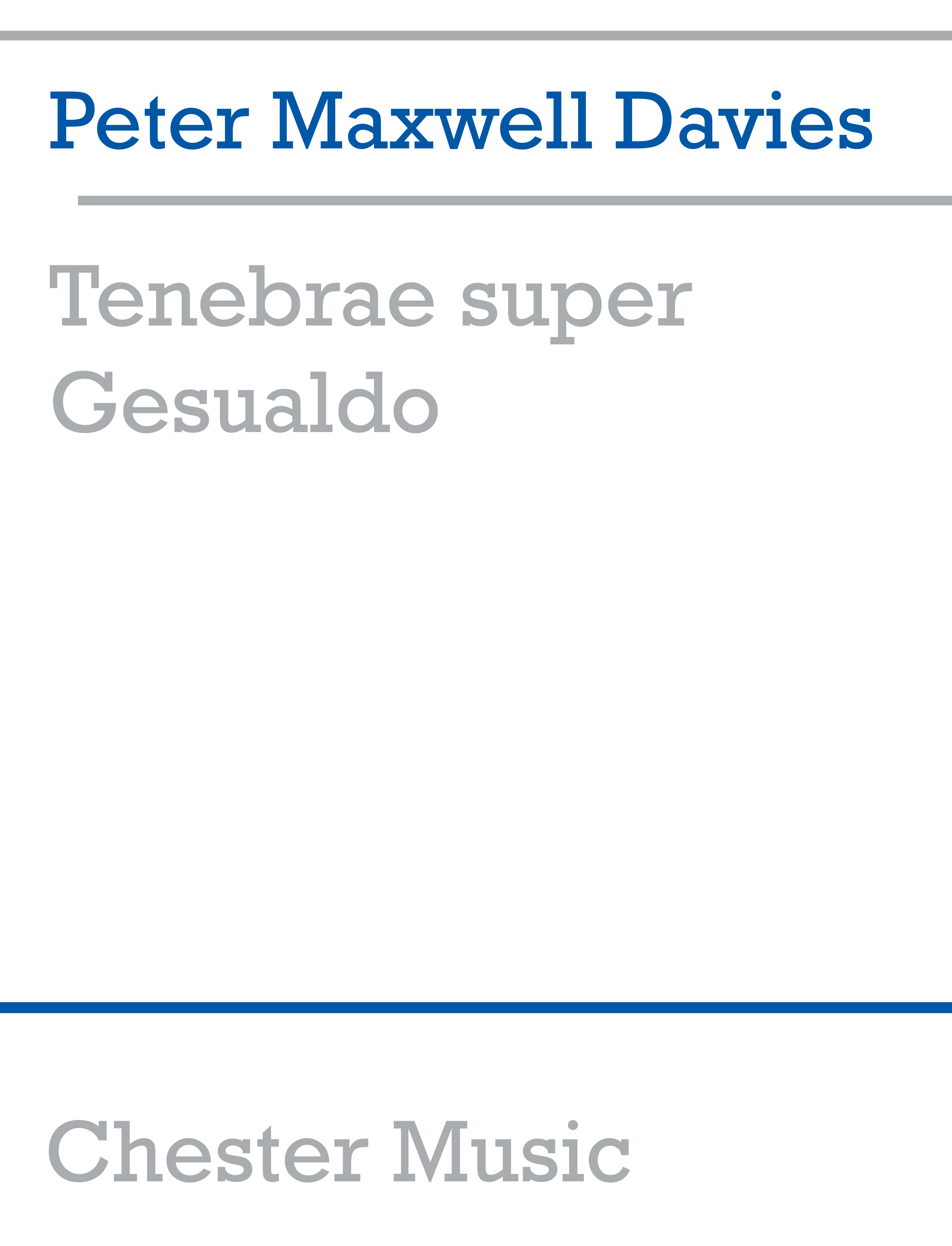 Peter Maxwell Davies: Tenebrae Super Gesualdo: Ensemble: Score