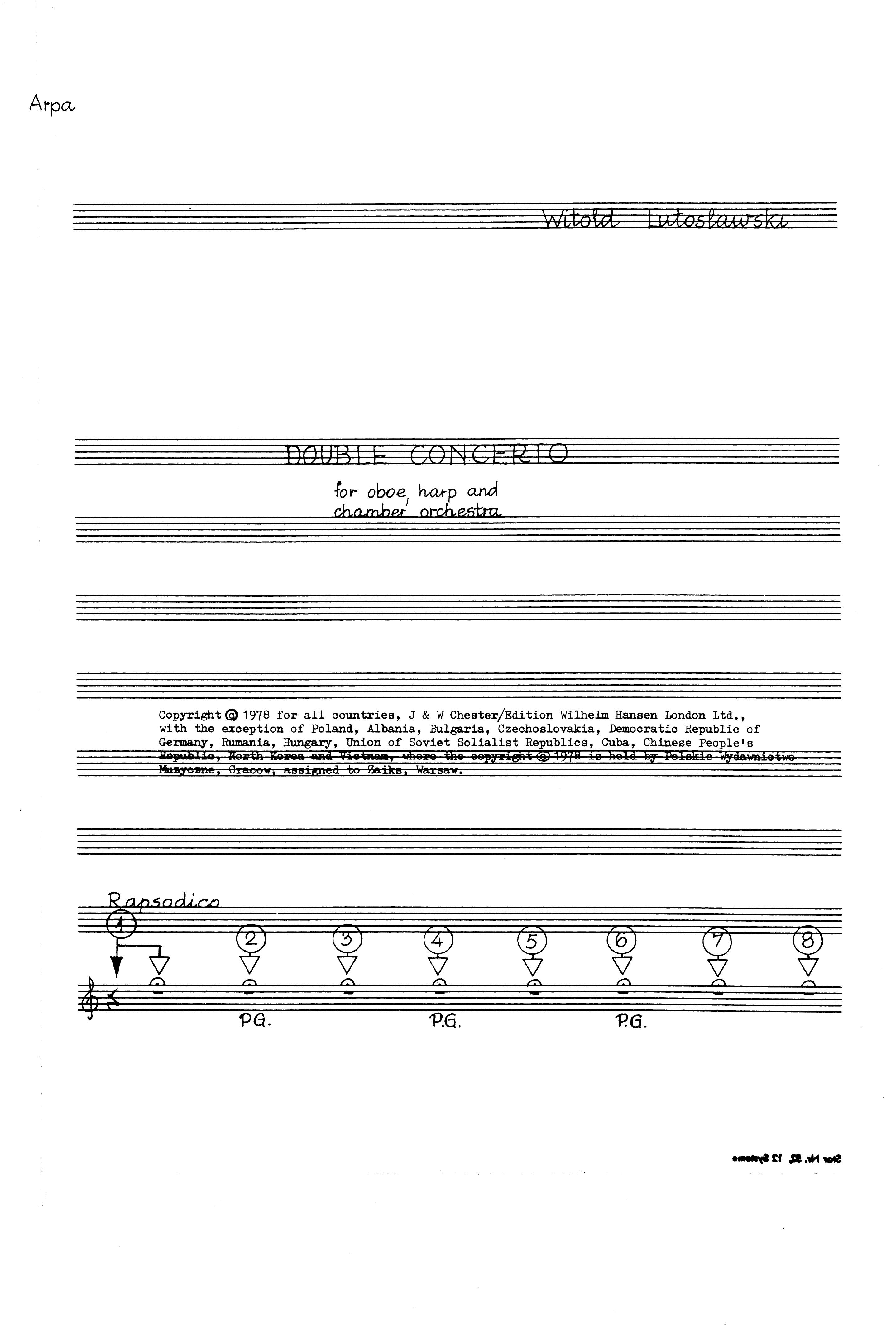 Witold Lutoslawski: Double Concerto (Harp Part): Harp: Part