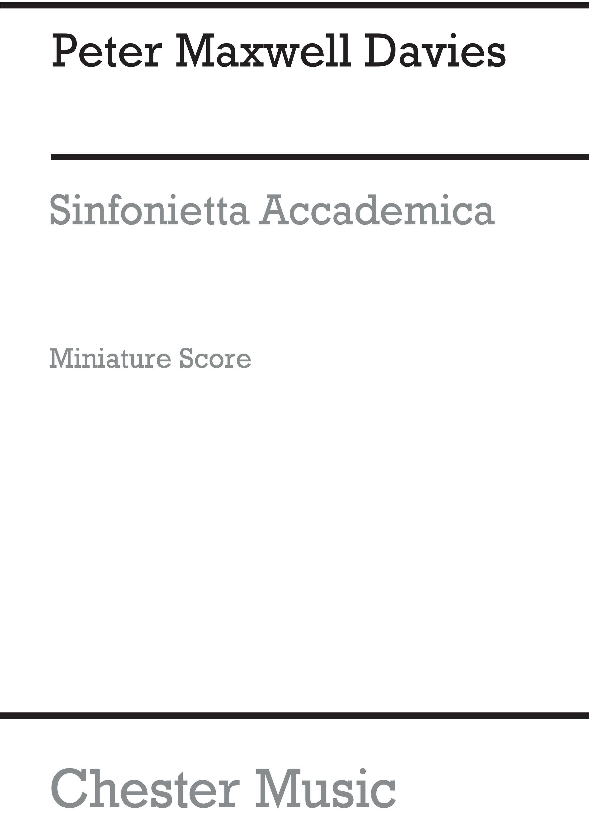 Peter Maxwell Davies: Sinfonietta Accademica: Orchestra: Miniature Score
