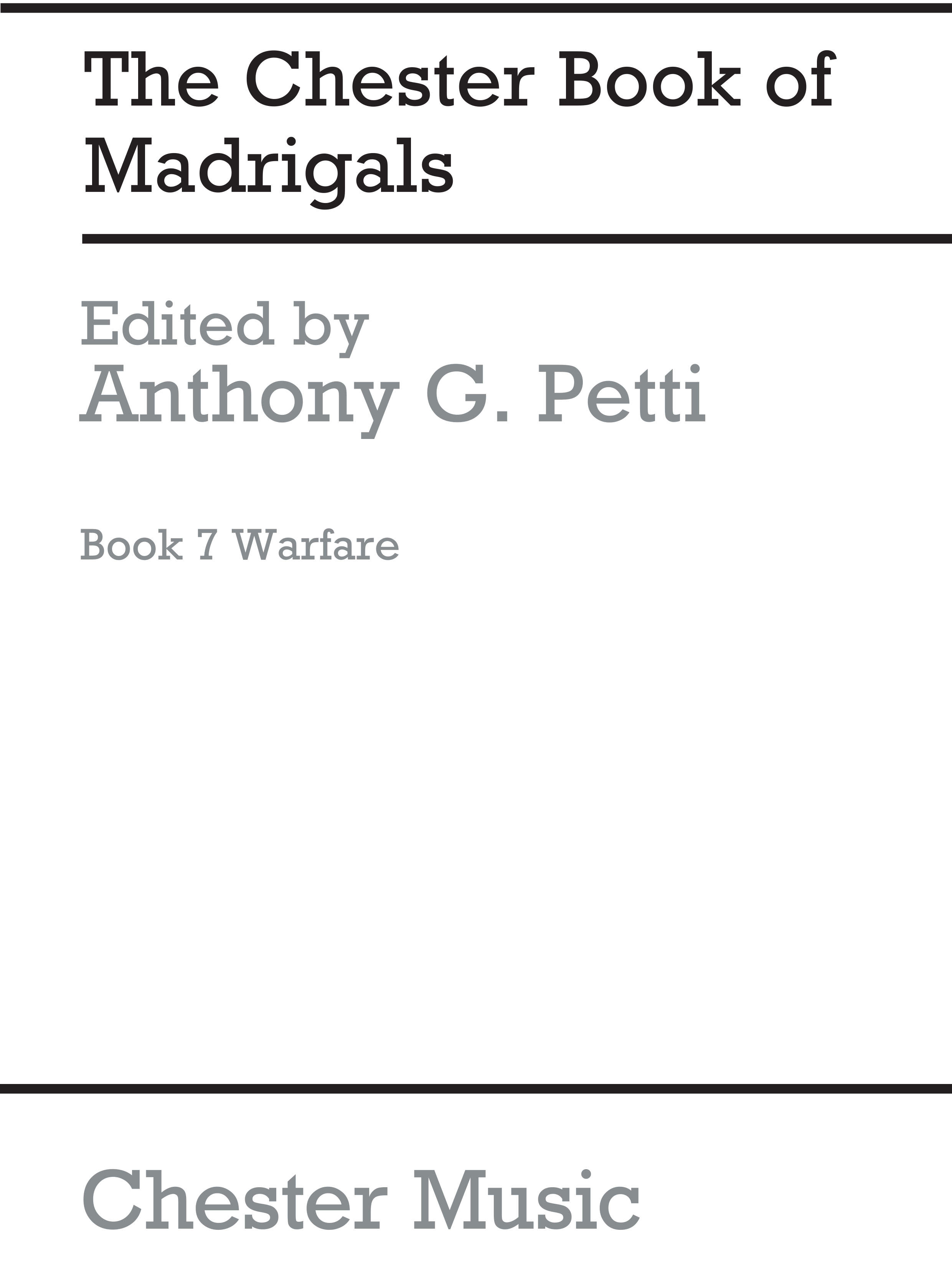 The Chester Books Of Madrigals 7: SATB: Vocal Score