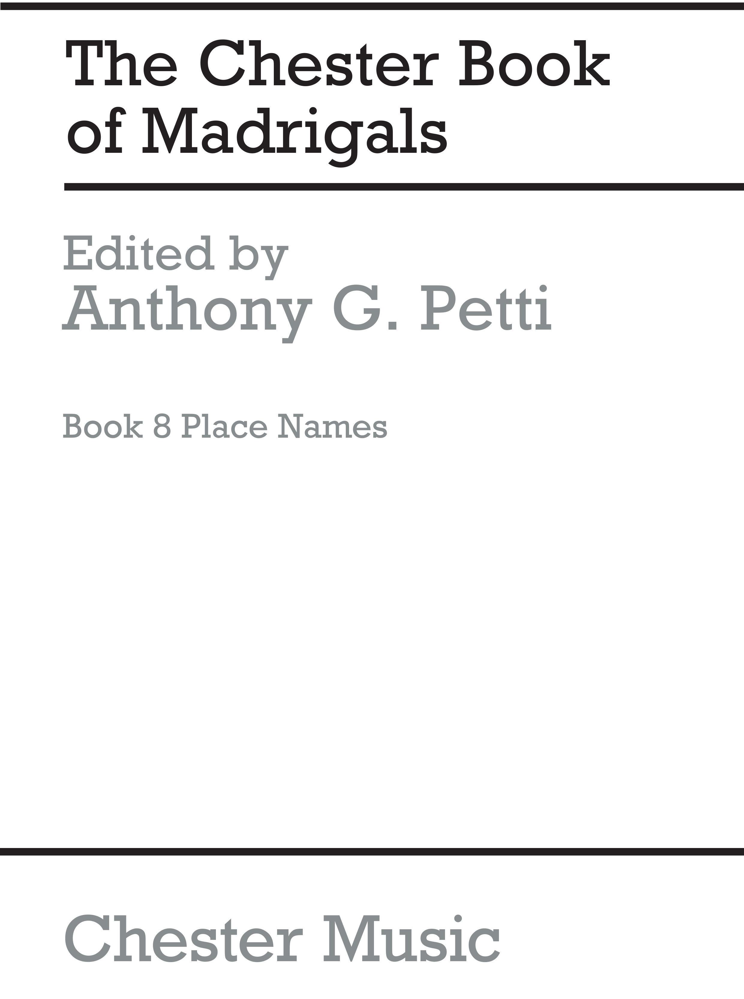 The Chester Books Of Madrigals 8: SATB: Vocal Score