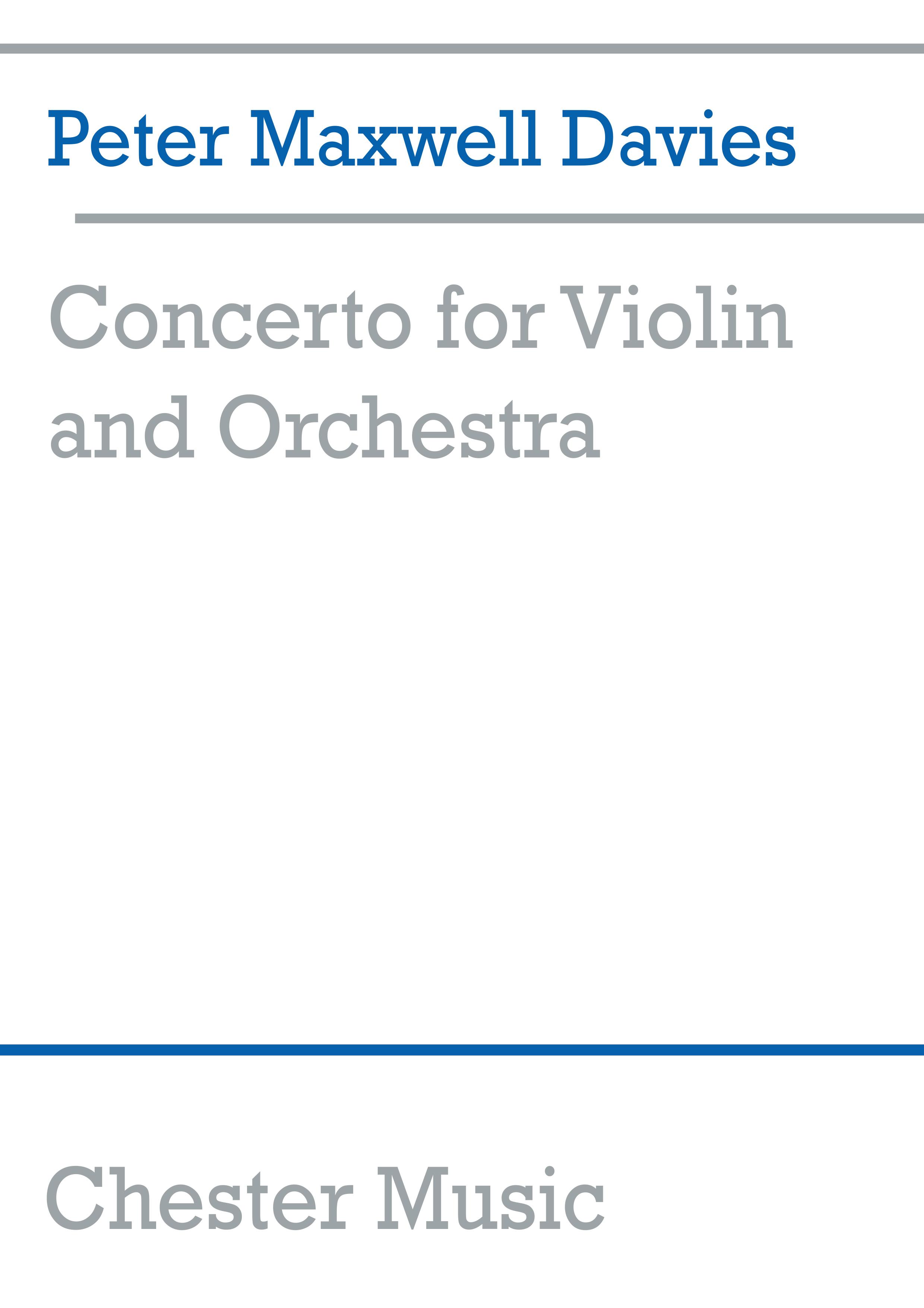 Peter Maxwell Davies: Concerto For Violin And Orchestra: Violin: Miniature Score