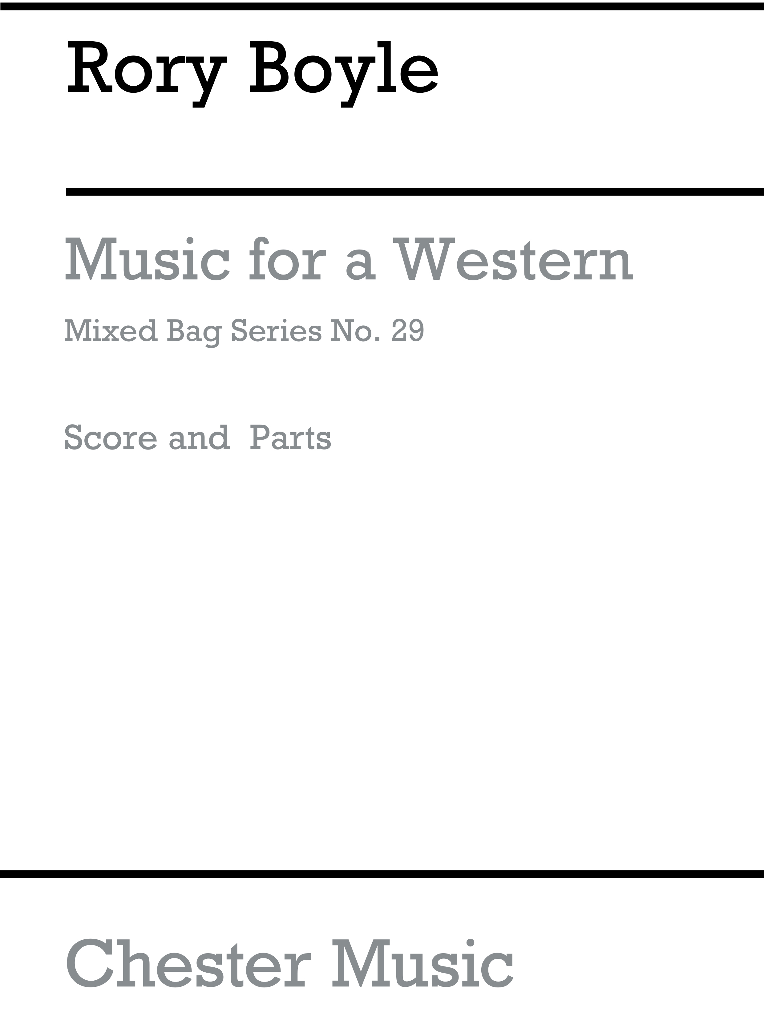 Rory Boyle: Music For A Western: Wind Ensemble: Score and Parts