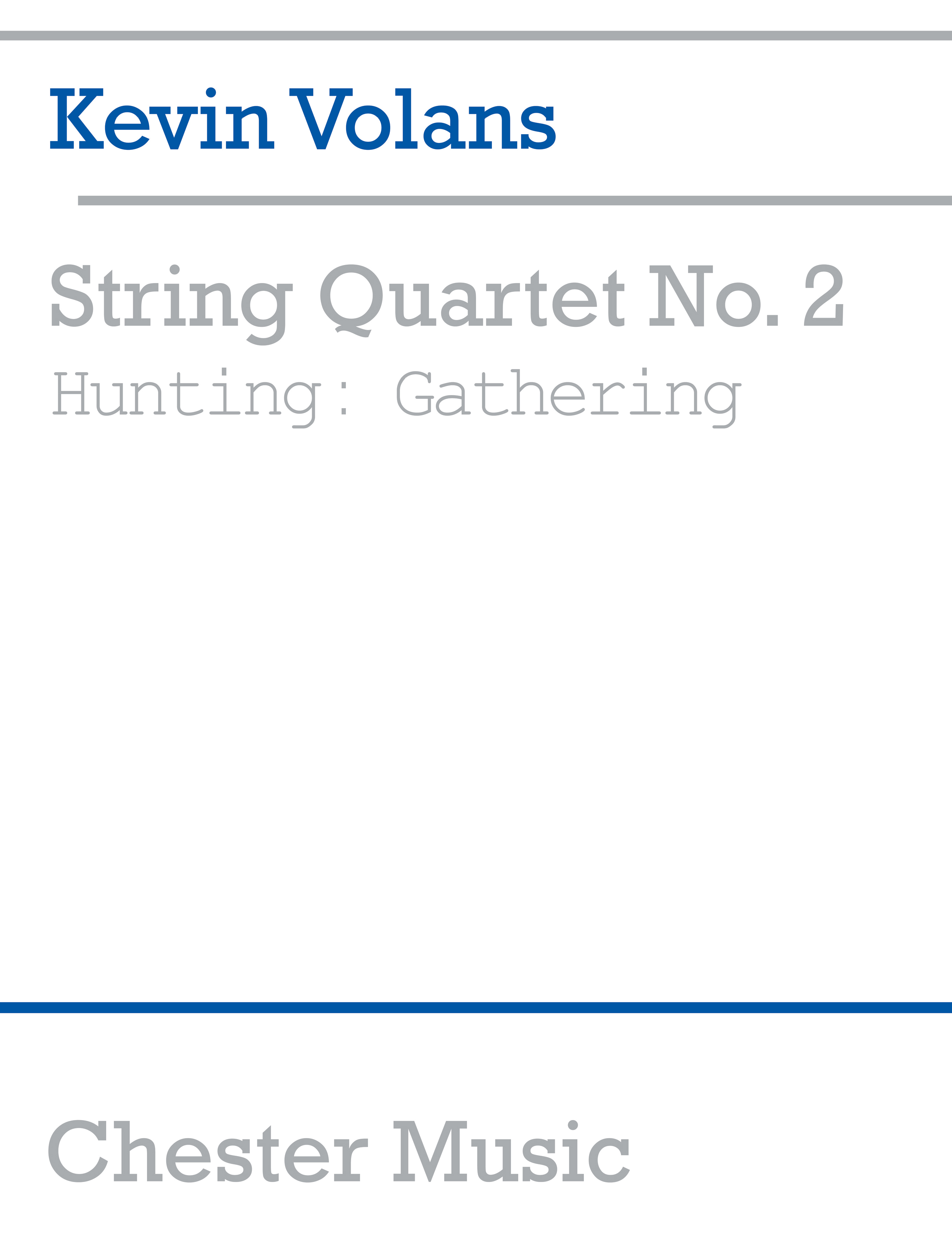 Kevin Volans: String Quartet No. 2 Hunting: String Quartet: Score