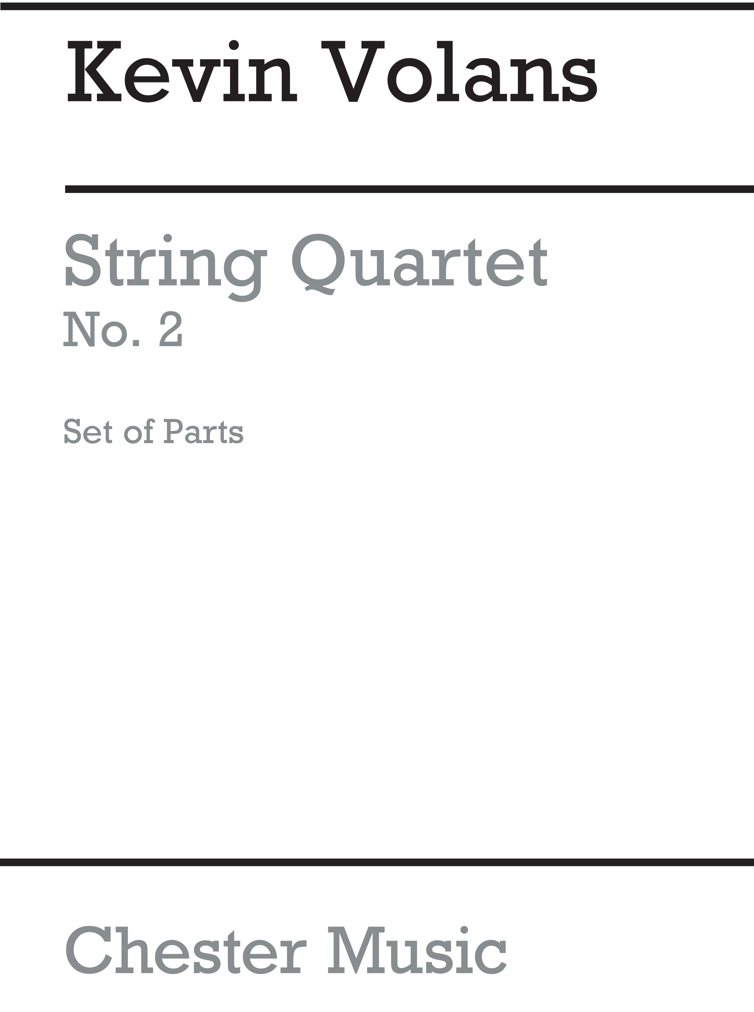 Kevin Volans: String Quartet No. 2 Hunting: String Quartet: Instrumental Work