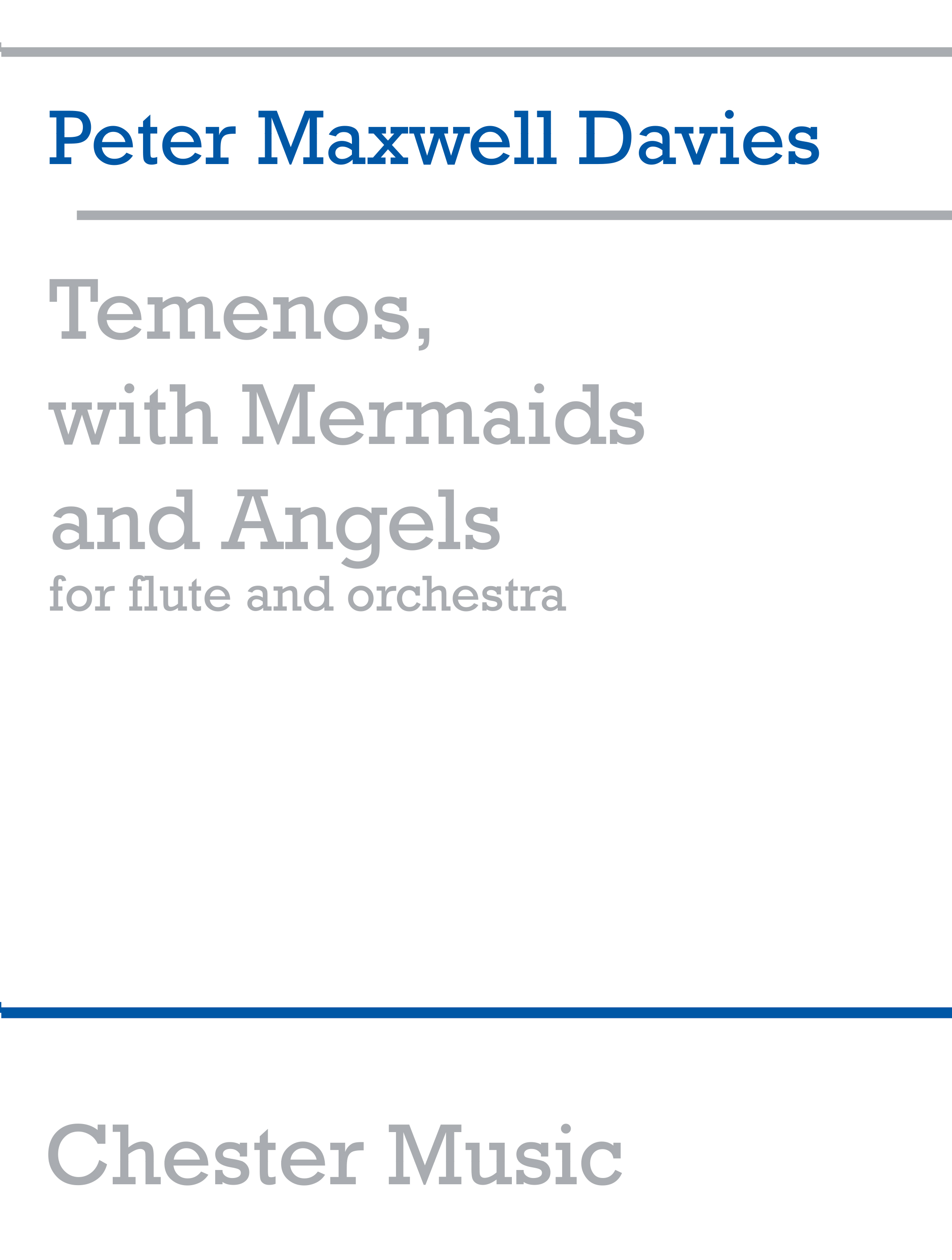 Peter Maxwell Davies: Temenos With Mermaids And Angels: Flute: Miniature Score