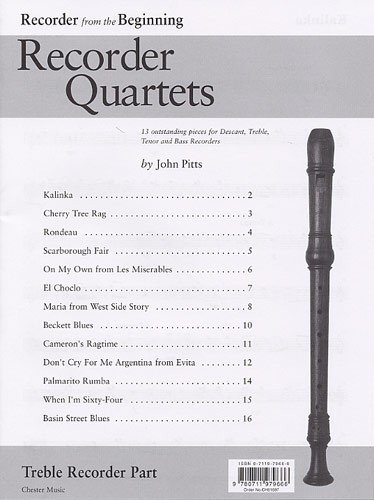 John Pitts: Recorder Quartets: Treble Recorder Part: Treble Recorder: