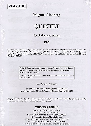 Magnus Lindberg: Quintet For Clarinet And Strings (Parts): Clarinet & String