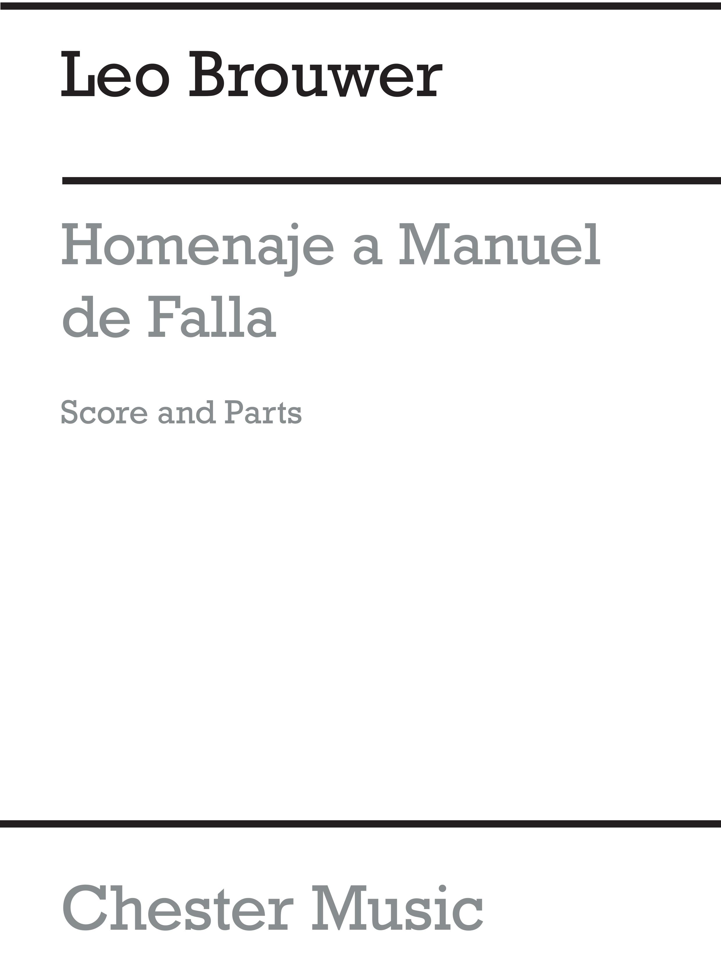 Leo Brouwer: Homenaje A Manuel De Falla: Chamber Ensemble: Score and Parts