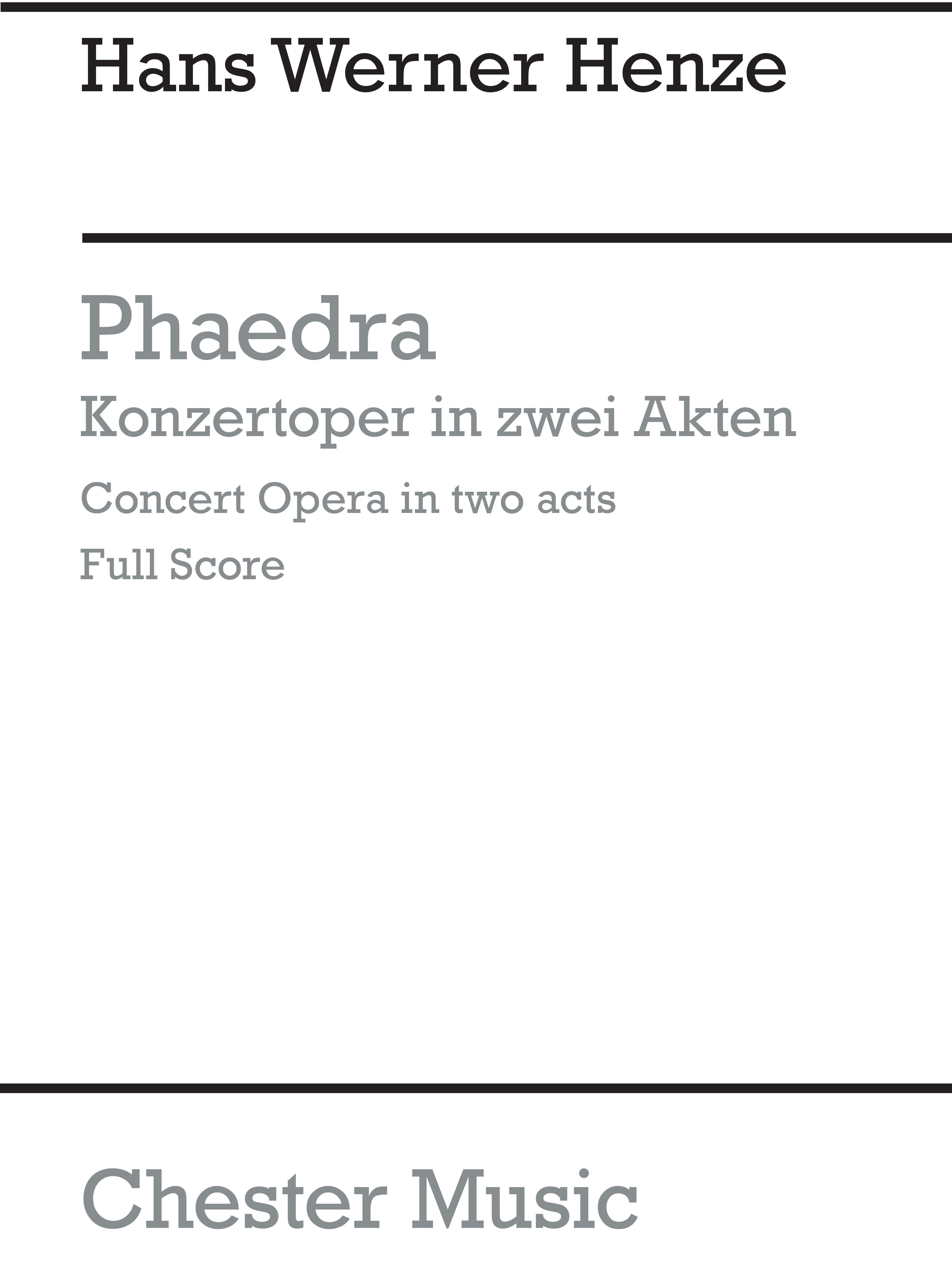 Hans Werner Henze: Phaedra: Opera: Score