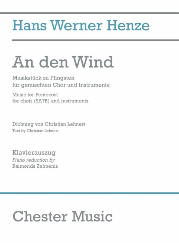 Hans Werner Henze: An Den Wind (Vocal Score): SATB: Vocal Score