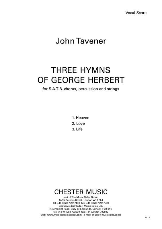 John Tavener: Three Hymns Of George Herbert: SATB: Vocal Score