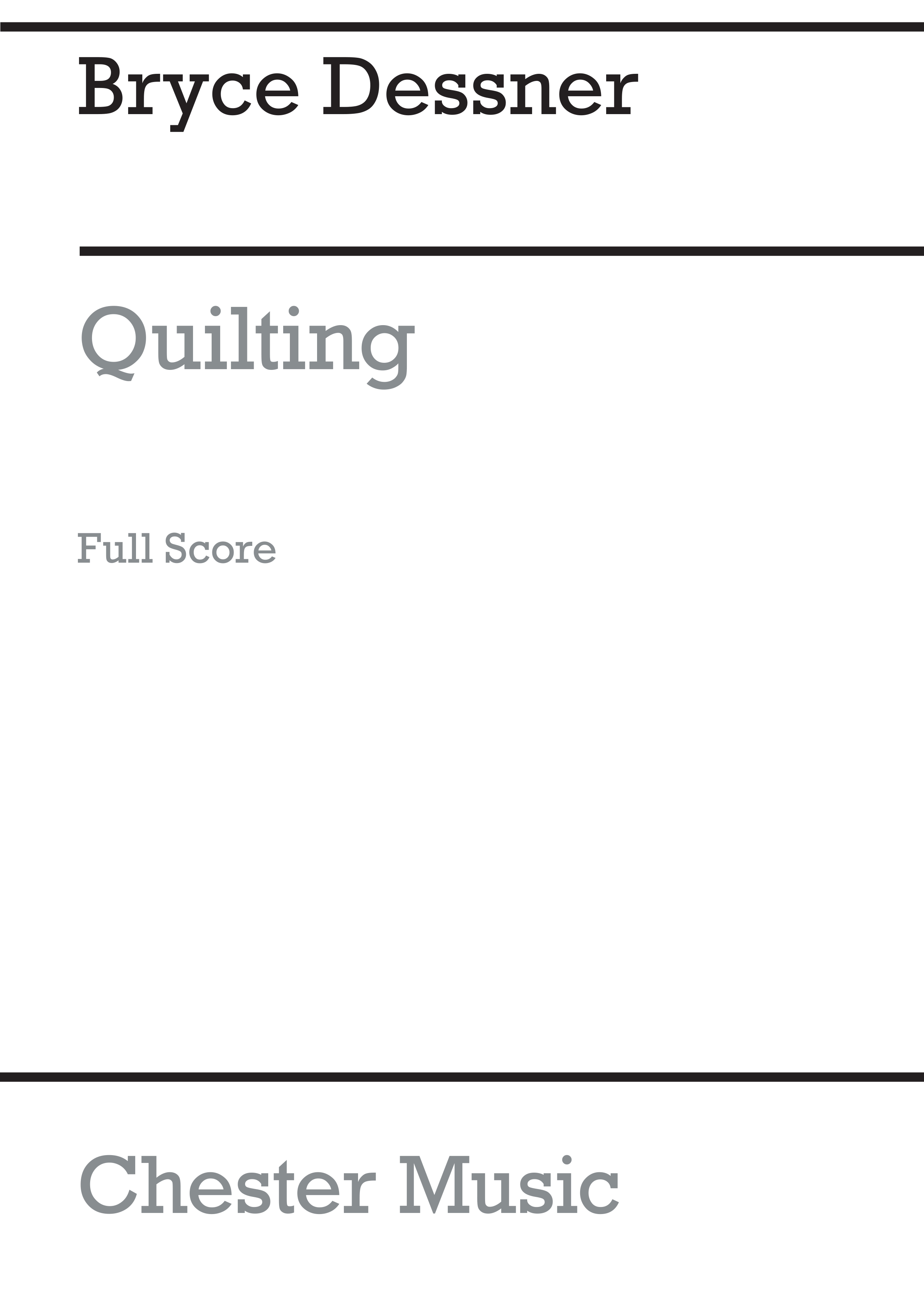 Bryce Dessner: Quilting: Orchestra: Score