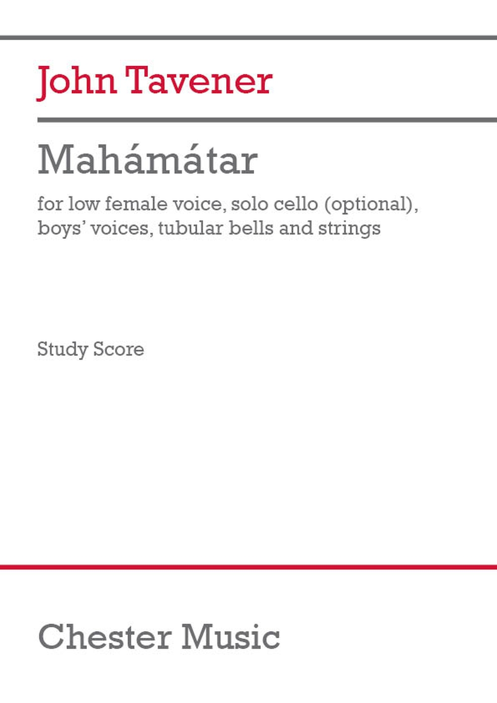 John Tavener: Mahamatar (Study Score): Chamber Ensemble: Study Score