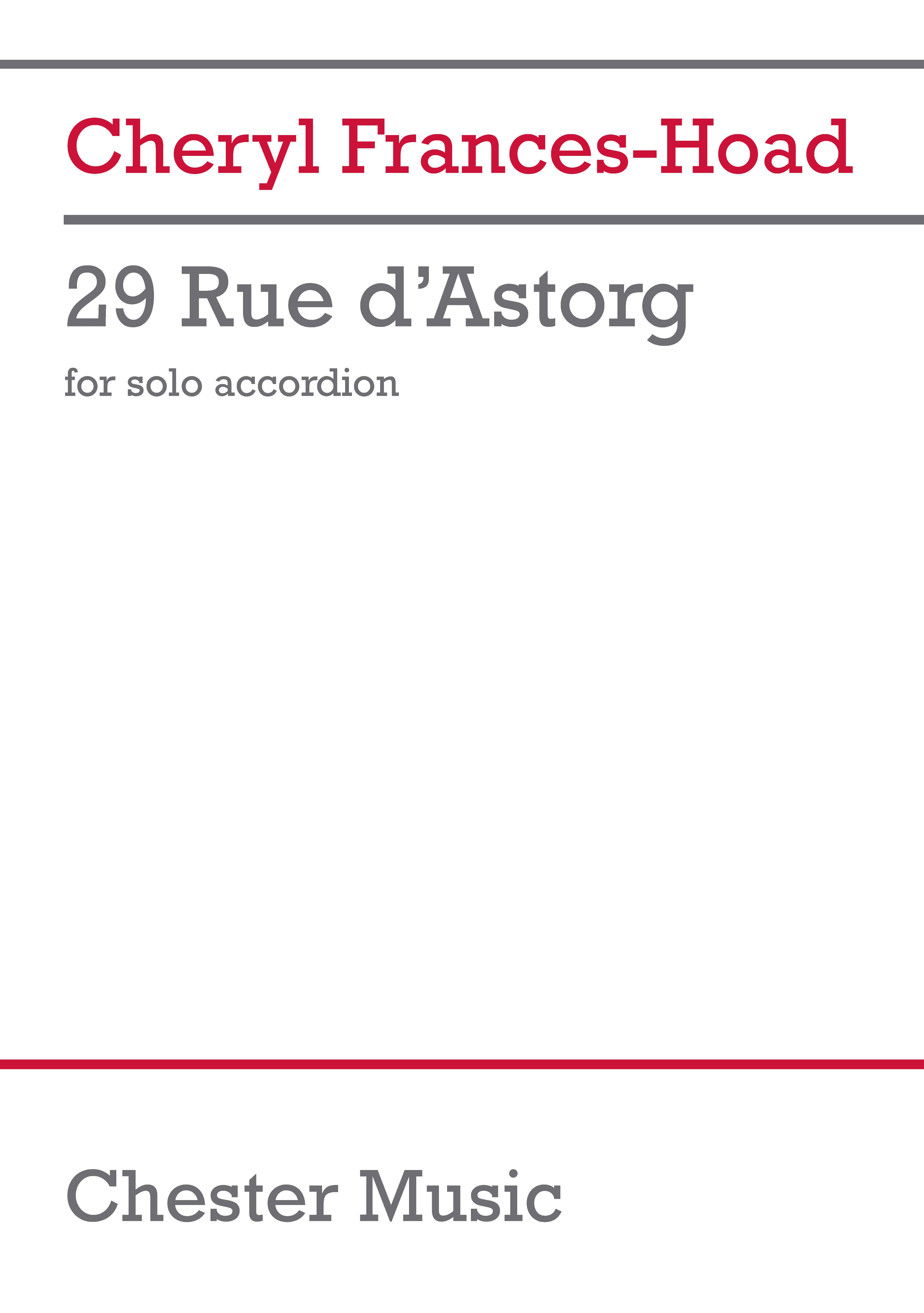 Cheryl Frances-Hoad: 29 Rue d'astorg: Accordion: Instrumental Work