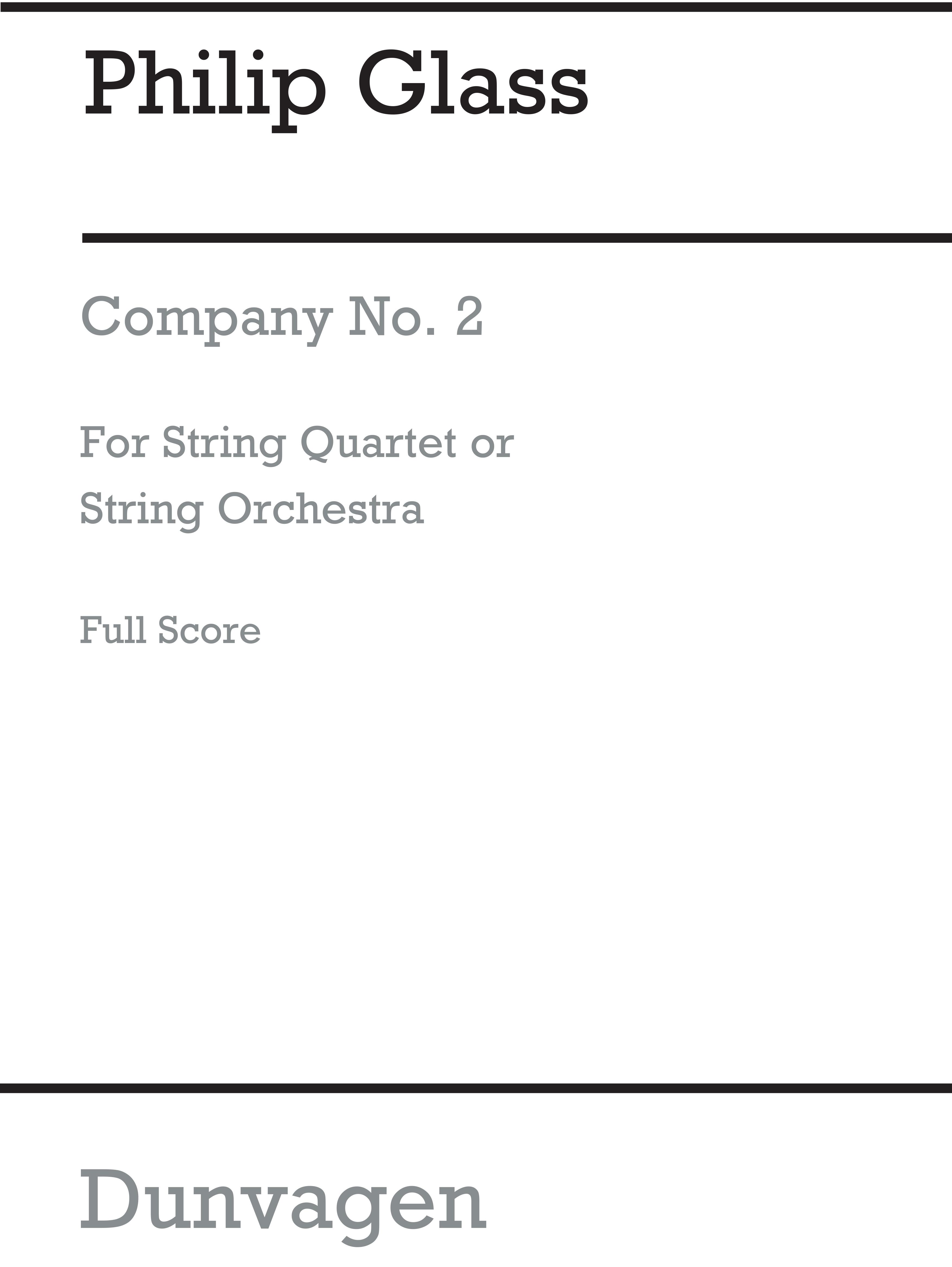 Philip Glass: String Quartet No 2 'Company': String Quartet: Study Score