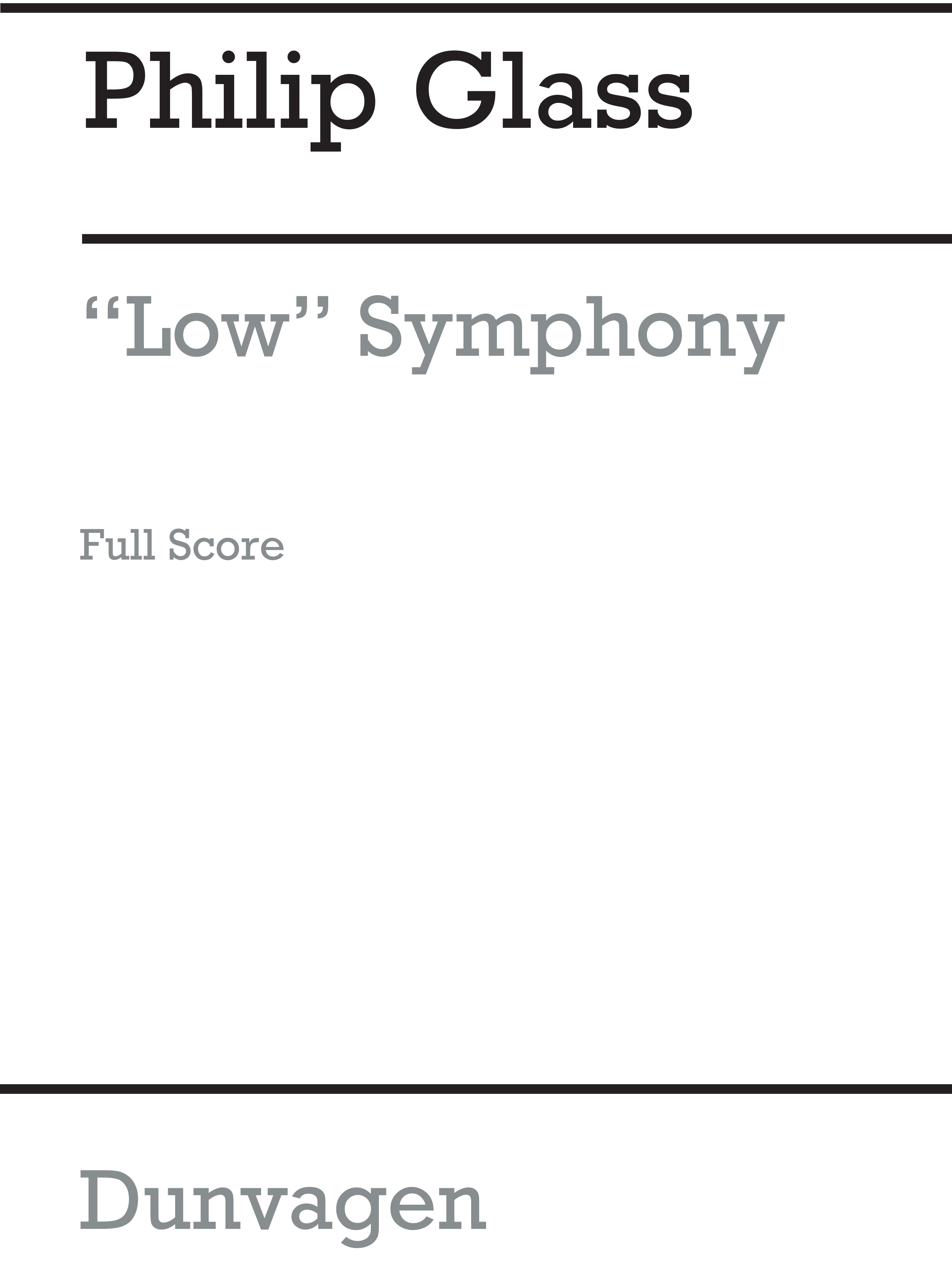 Philip Glass: Low Symphony: Orchestra: Score