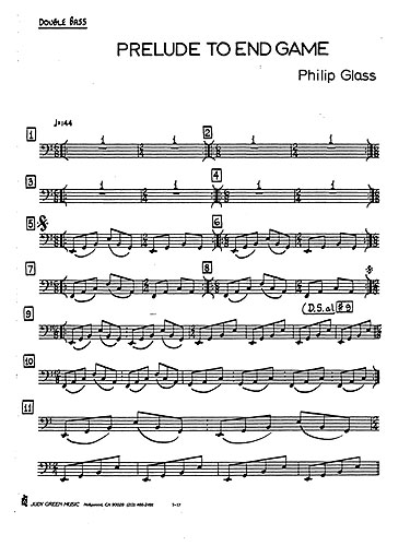Philip Glass: Prelude To 'Endgame': Double Bass: Instrumental Work