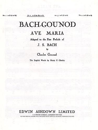Johann Sebastian Bach: Ave Maria In E Flat Major: Voice: Instrumental Work