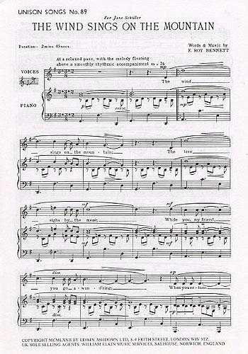 F Roy Bennett F. Roy Bennett: The Wind Sings On The Mountain: Unison Voices:
