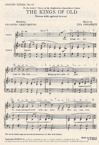 Eva Fovargue: The Kings Of Old: Unison Voices: Vocal Score