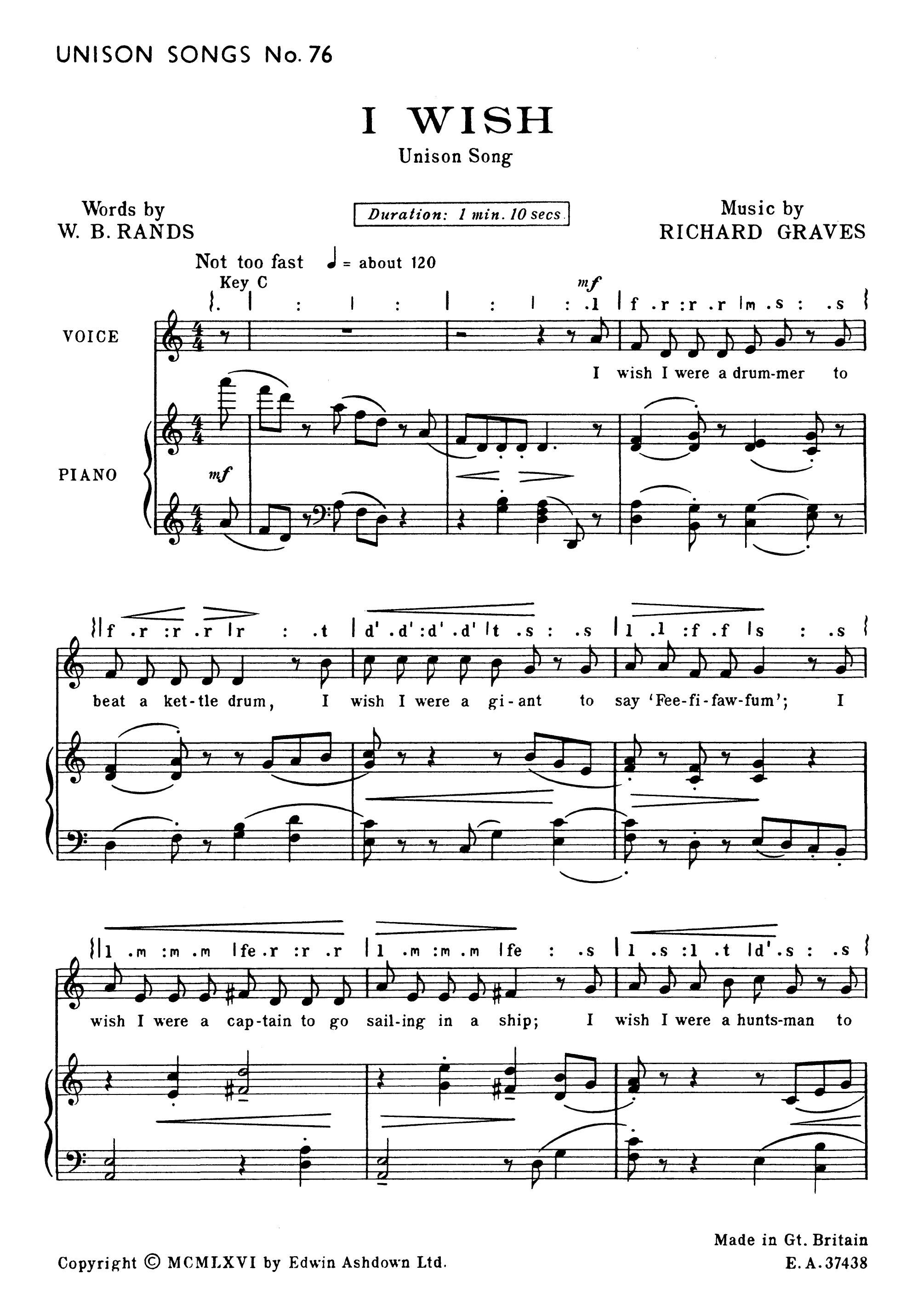 Richard Graves: I Wish: Unison Voices: Score