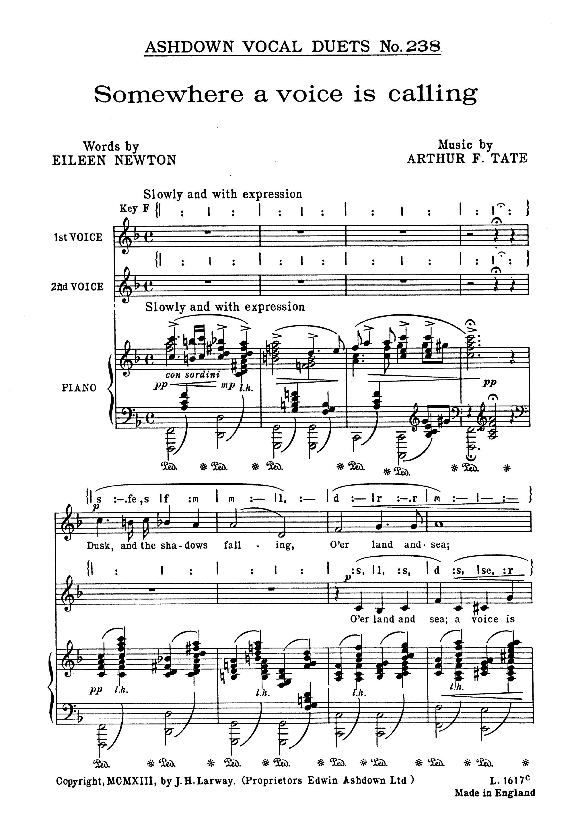 Arthur Tate: Somewhere A Voice Is Calling: 2-Part Choir