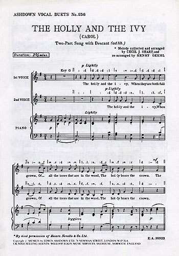 Cecil Sharp: The Holly and The Ivy: Medium Voice: Vocal Score