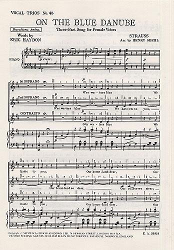Johann Strauss Jr.: On The Blue Danube: SSA: Vocal Score