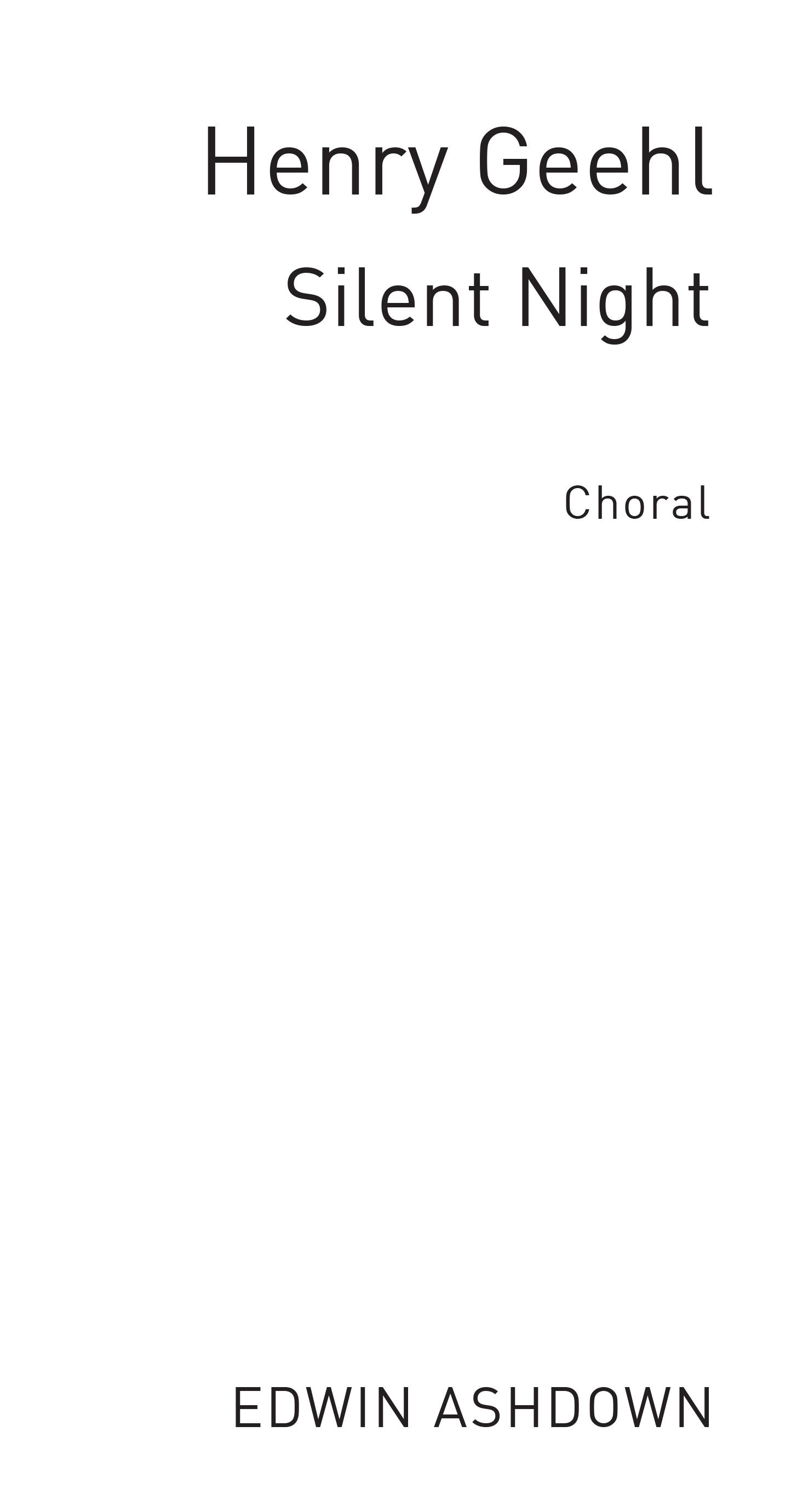 Silent Night: SSA: Vocal Score