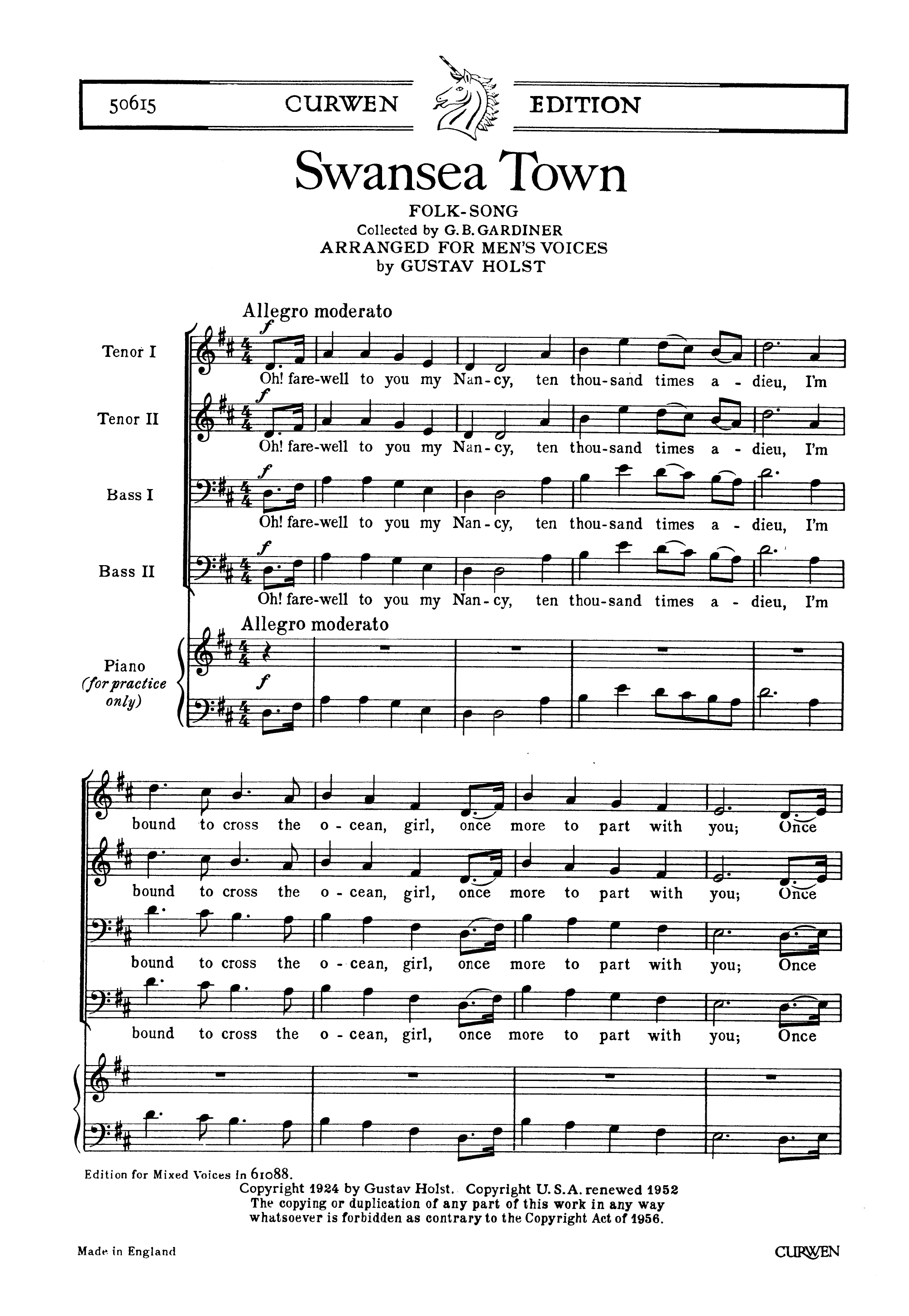 Traditional: Swansea Town: Men's Voices: Vocal Work