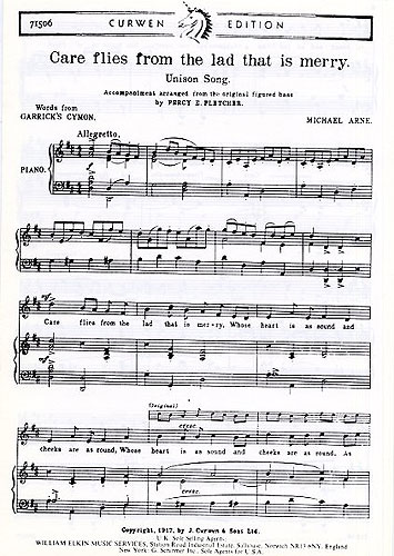 Michael Arne: Care Flies From The Lad That Is Merry: Unison Voices: Vocal Score