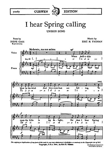 Eric Thiman: I Hear Spring Calling: Unison Voices: Vocal Score