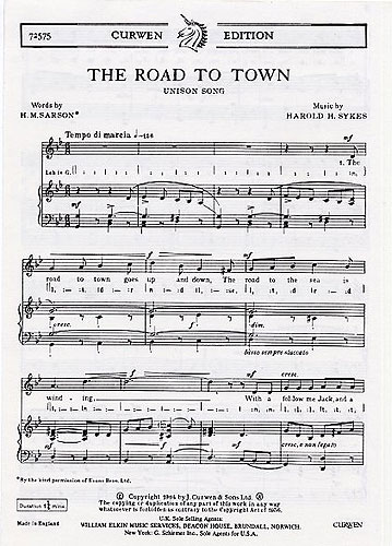 Harold H. Sykes: The Road To Town: Unison Voices: Vocal Score