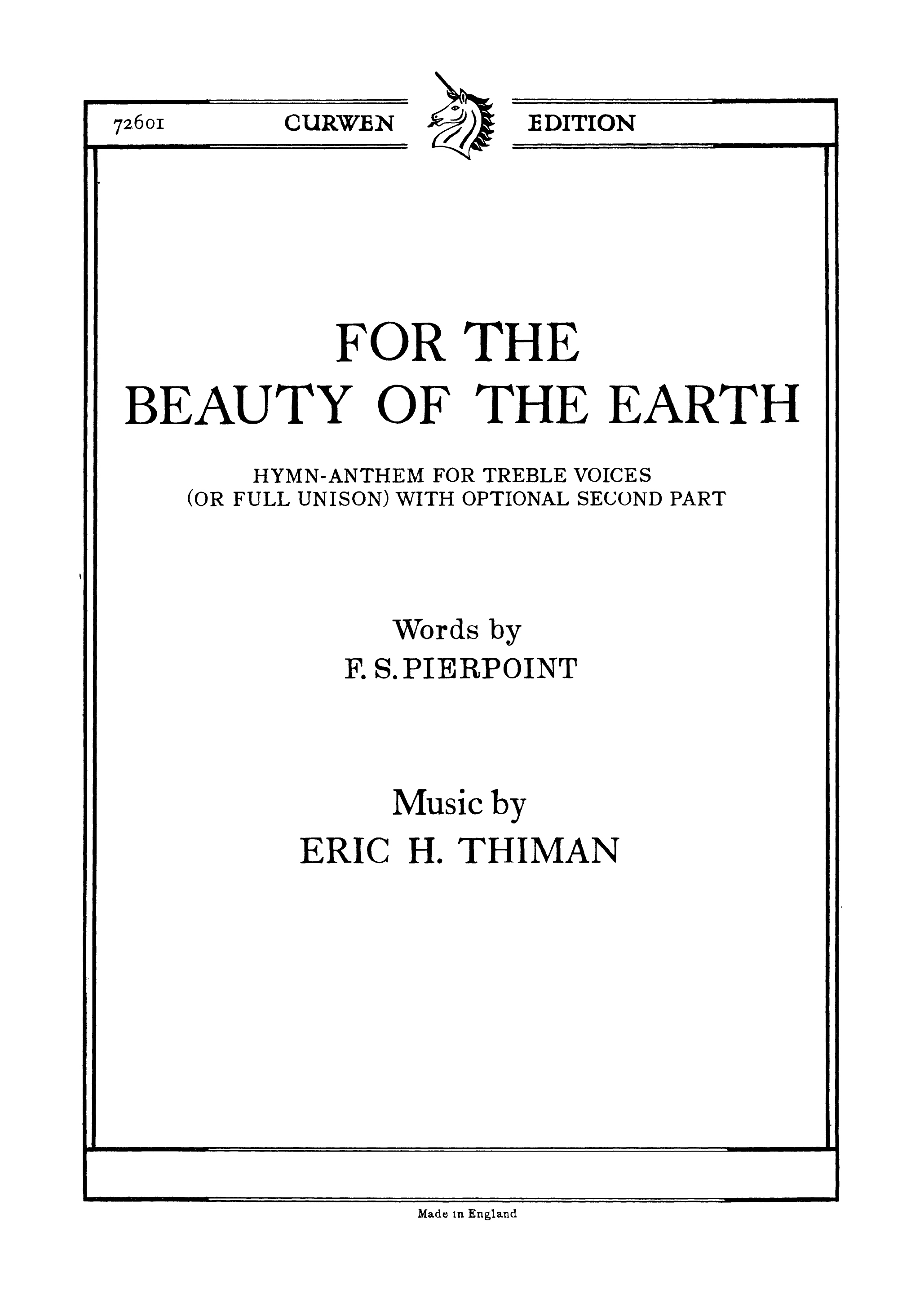 Eric Thiman: For The Beauty Of The Earth: Unison Voices: Vocal Score
