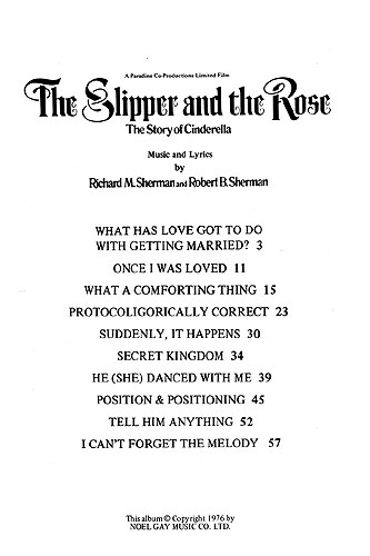 Richard M.  Sherman Robert B. Sherman: Selections from The Slipper and the Rose: