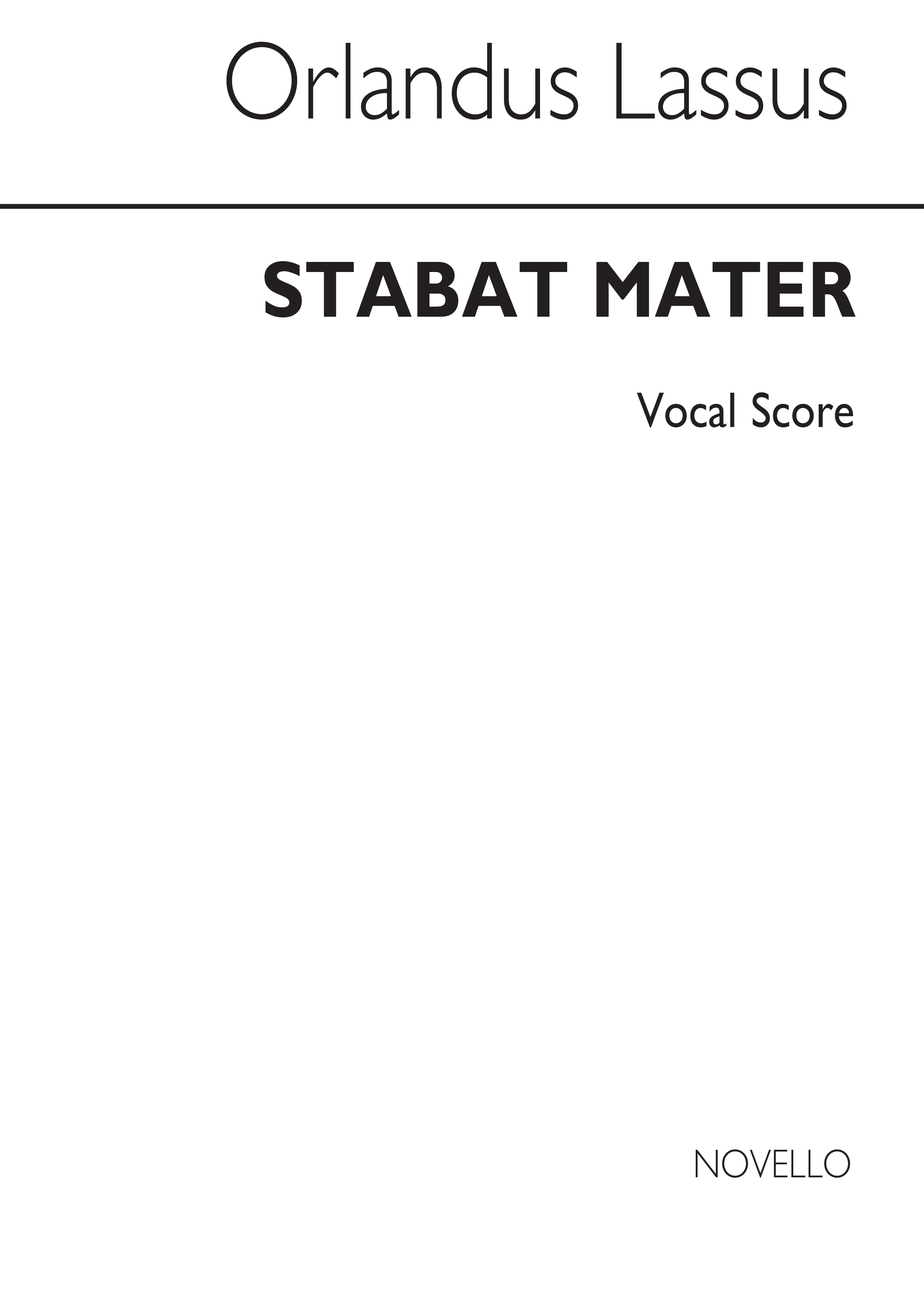 Orlando di Lasso: Stabat Mater: SAT: Vocal Score