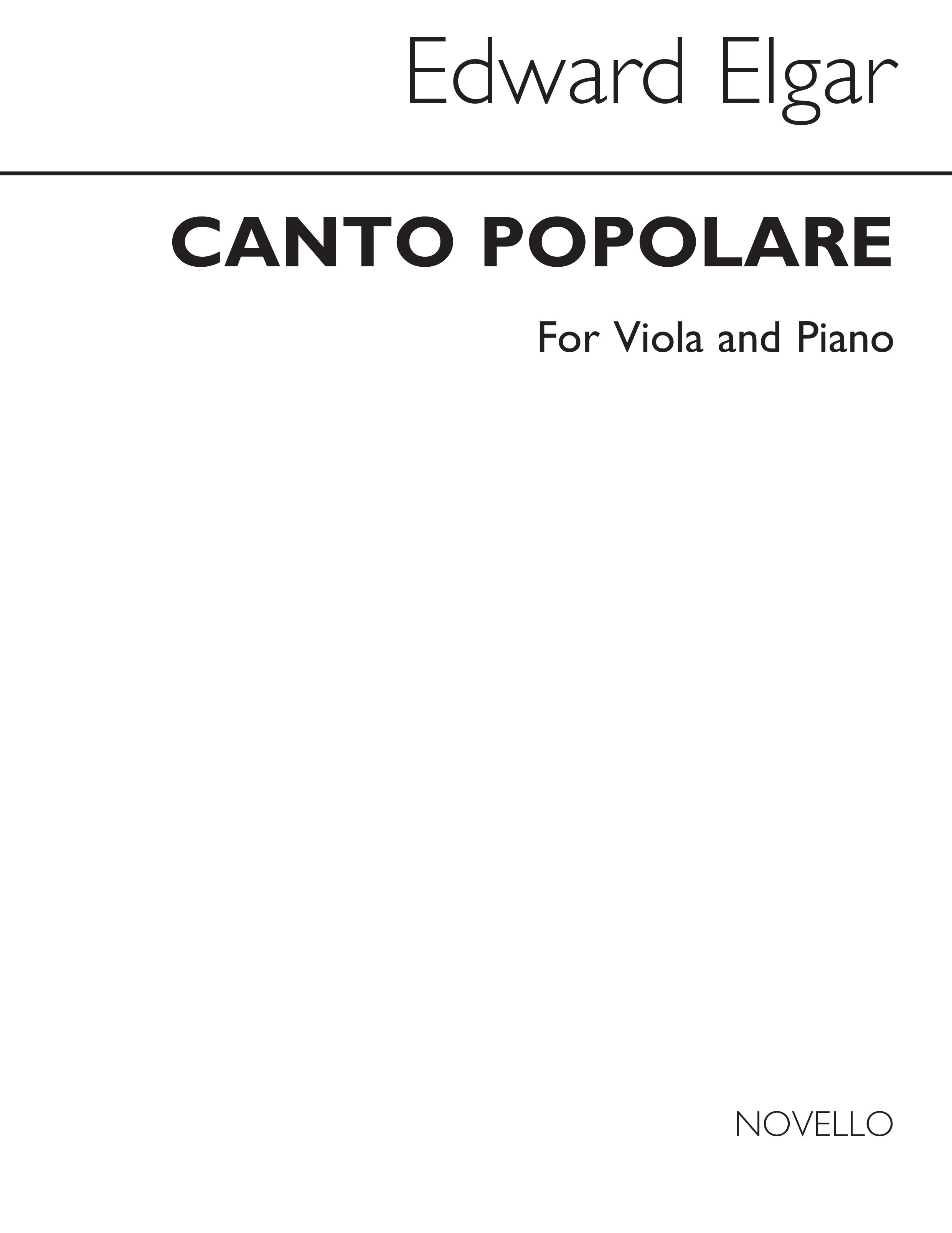 Edward Elgar: Canto Populare: Viola: Score and Parts