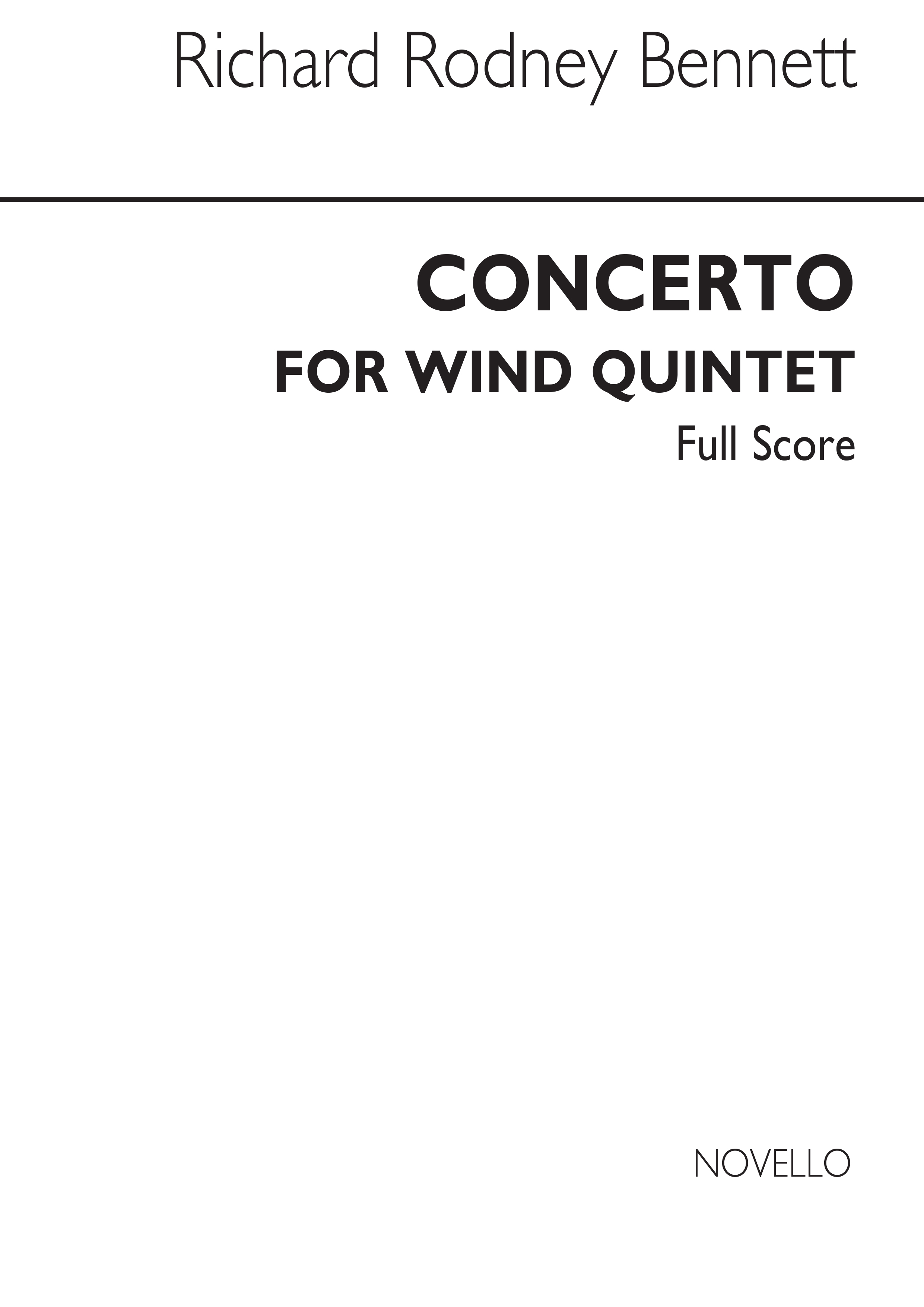 Richard Rodney Bennett: Concerto For Wind Quintet: Wind Ensemble: Score