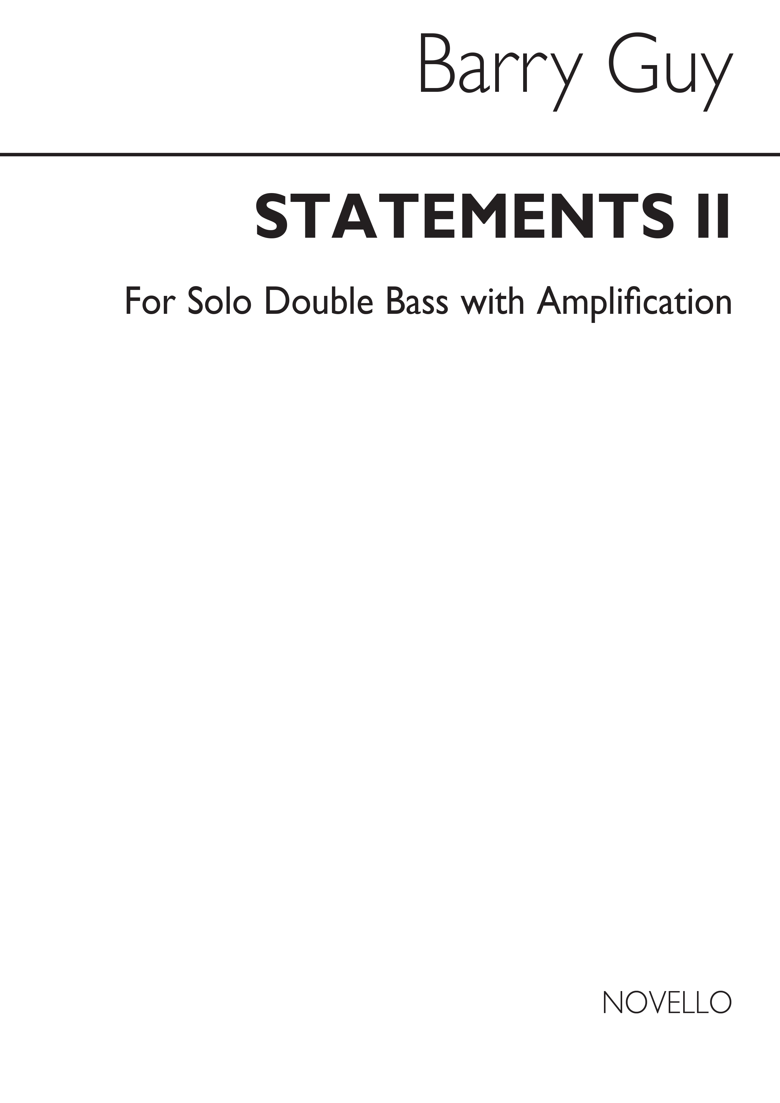 Barry Guy: Statements II for Double Bass: Double Bass: Instrumental Work