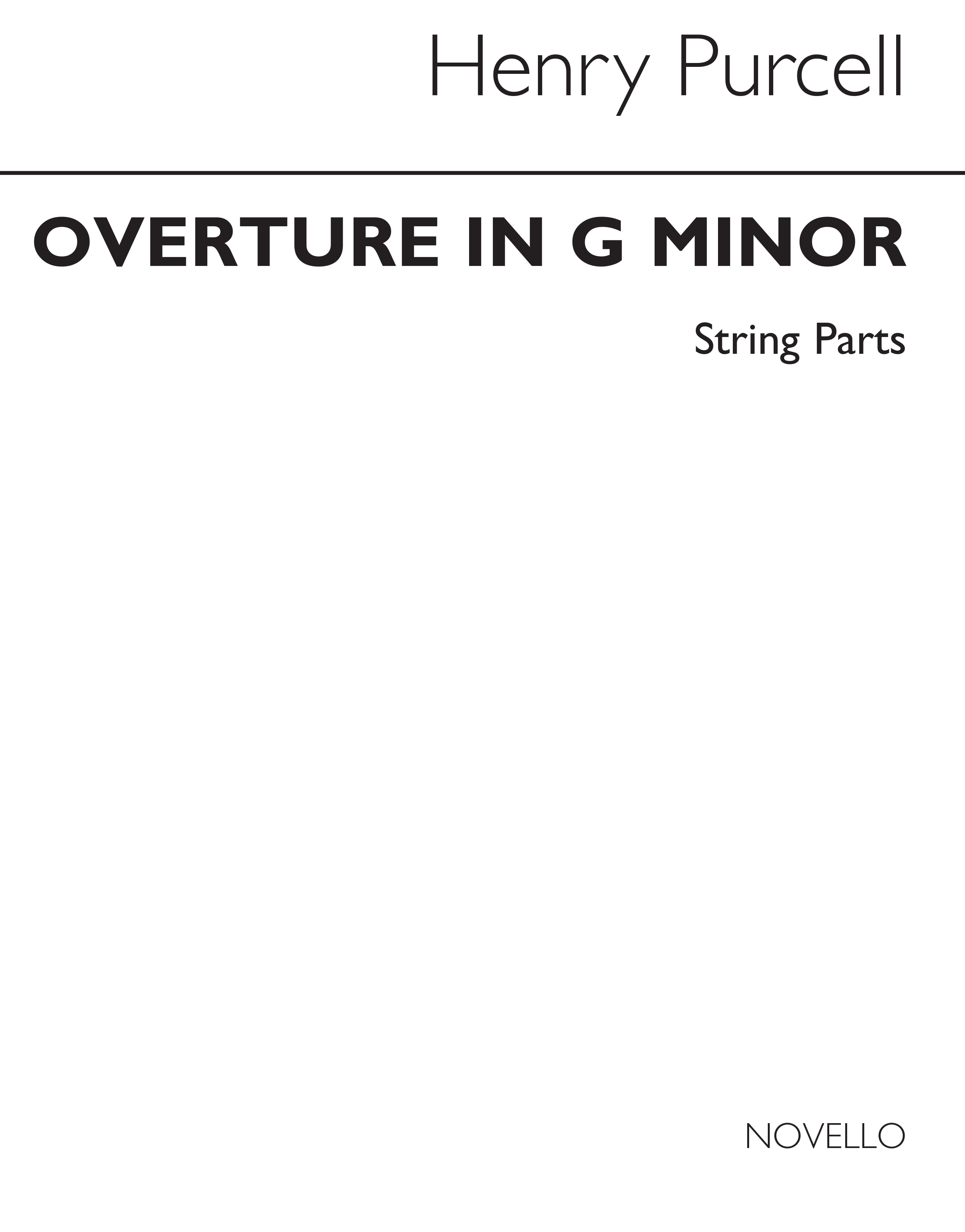 Henry Purcell: Overture In G Minor (String Parts): String Orchestra: Parts
