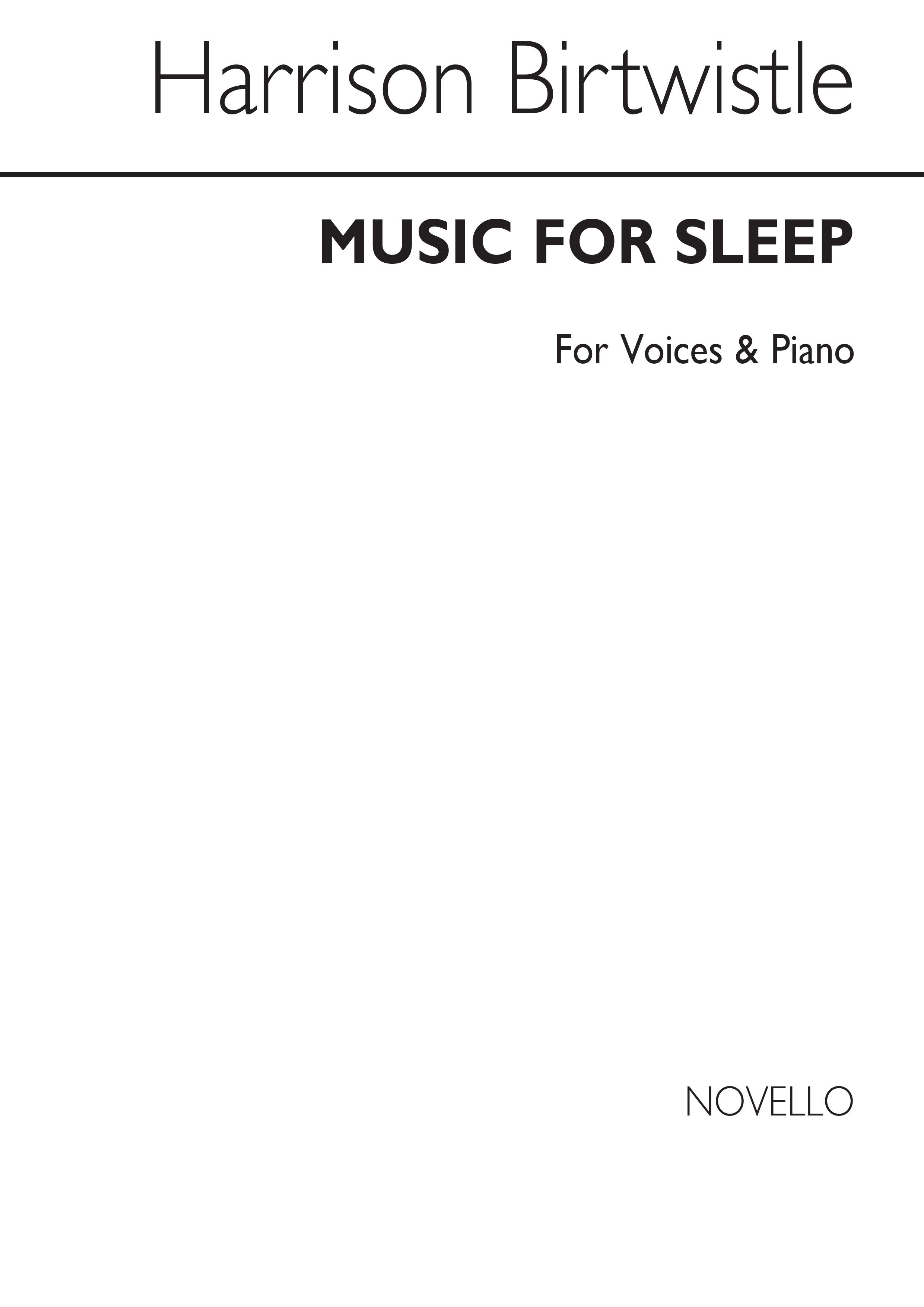 Harrison Birtwistle: Music In Sleep: SSA: Score