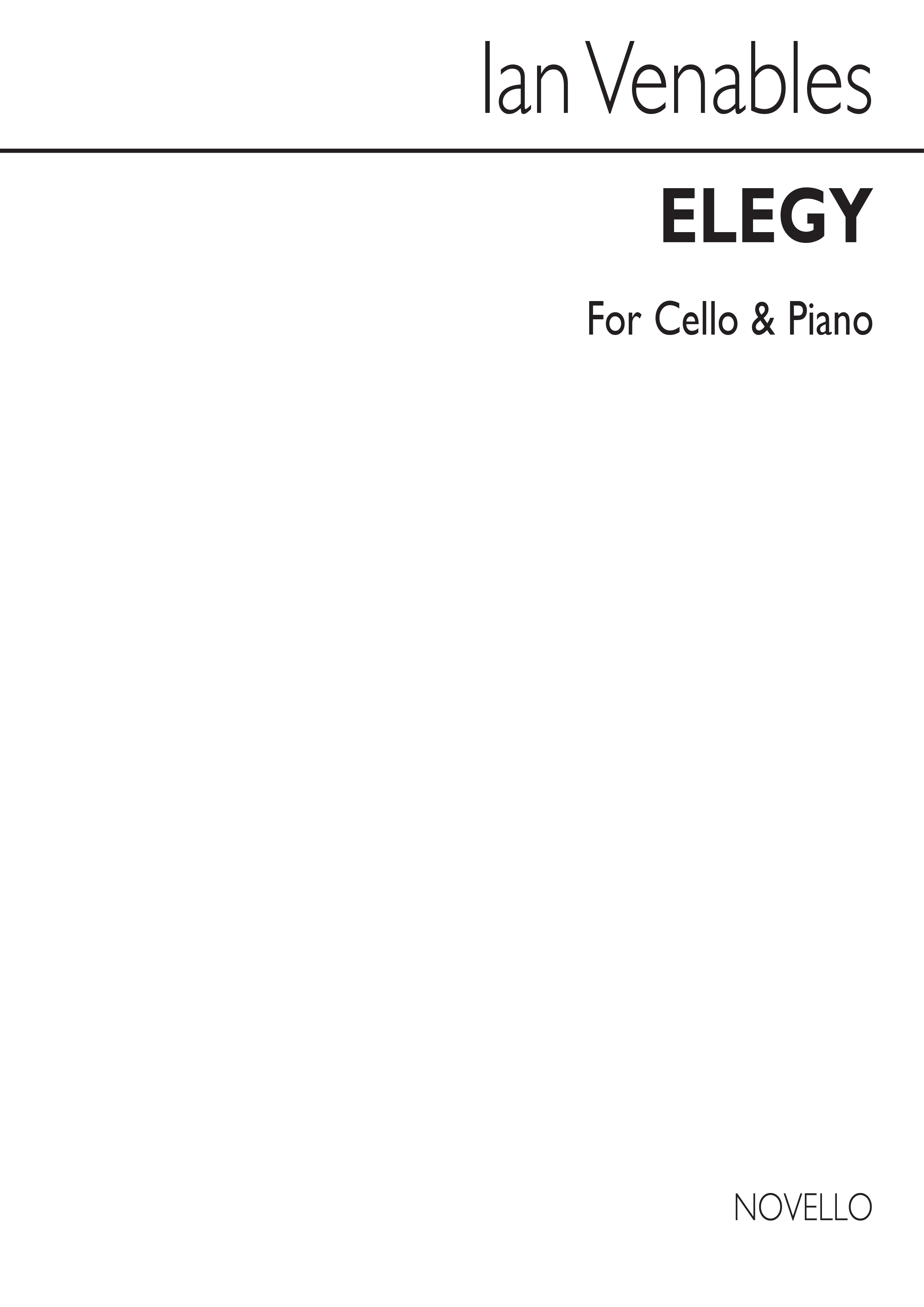 Ian Venables: Ian Venables: Elegy Op. 2: Cello: Score and Parts