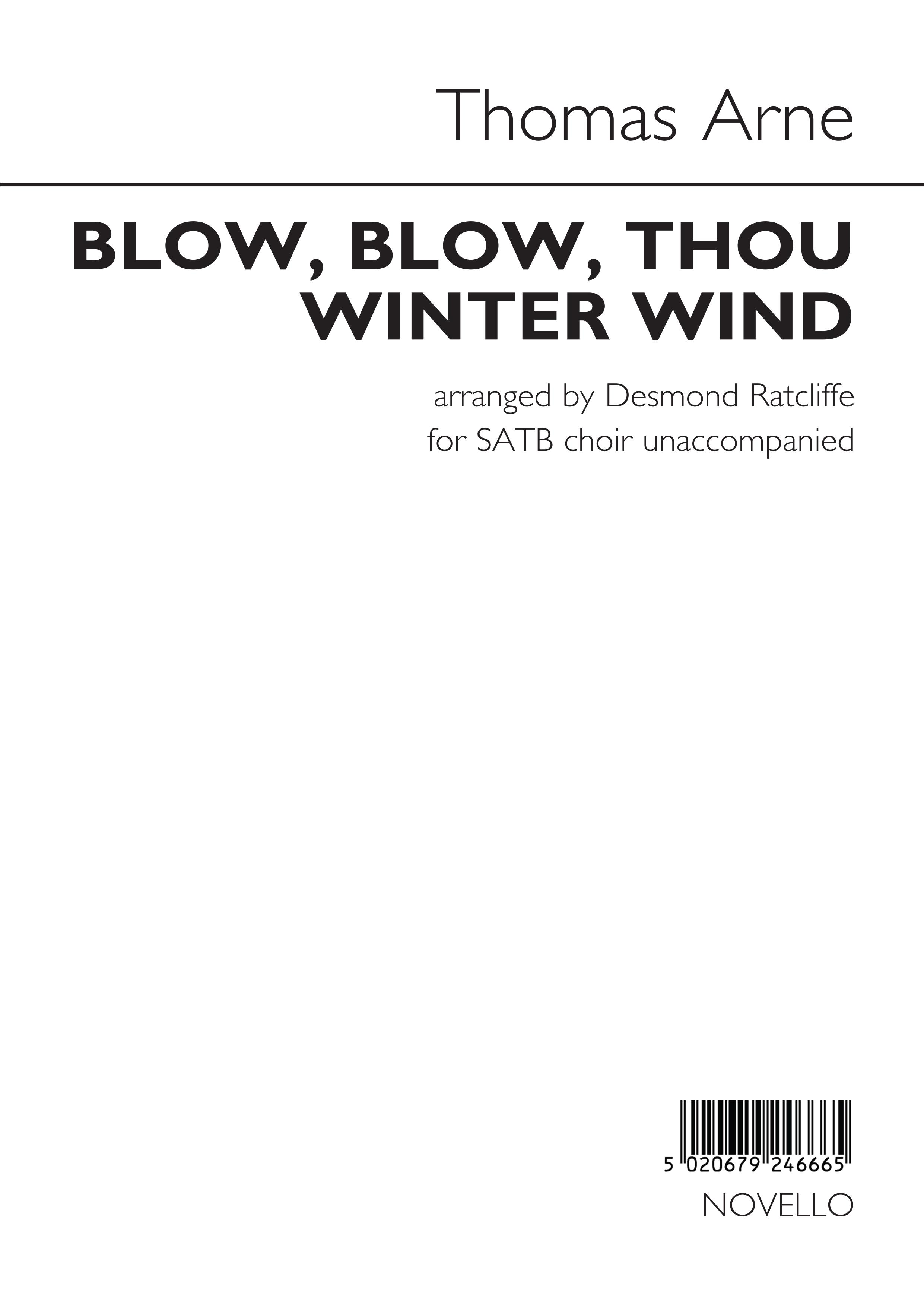 Thomas Augustine Arne: Blow  Blow  Thou Winter Wind: SATB: Vocal Score